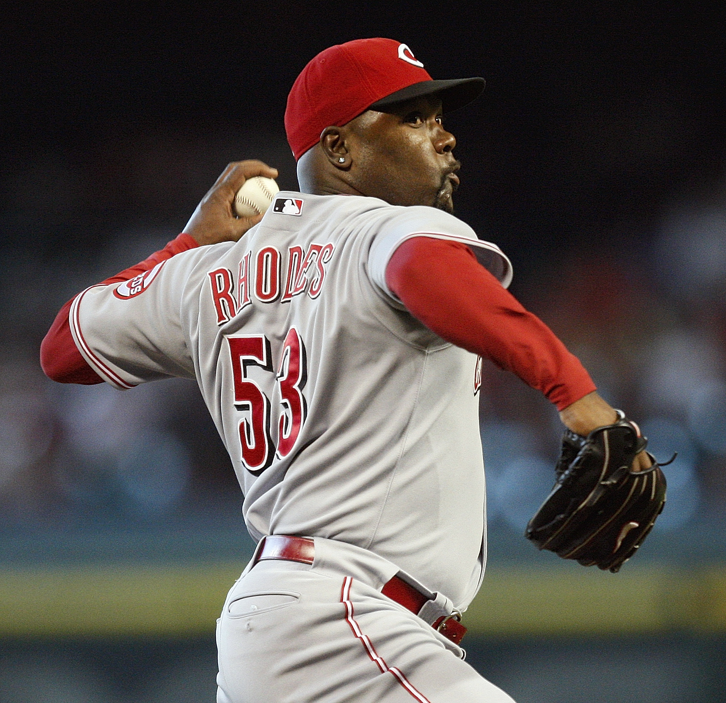HOUSTON - JULY 25:  Arthur Rhodes #53 of the Cincinnati Reds pitches during the seventh inning against the Houston Astros on July 25, 2010 in Houston, Texas.  (Photo by Bob Levey/Getty Images)