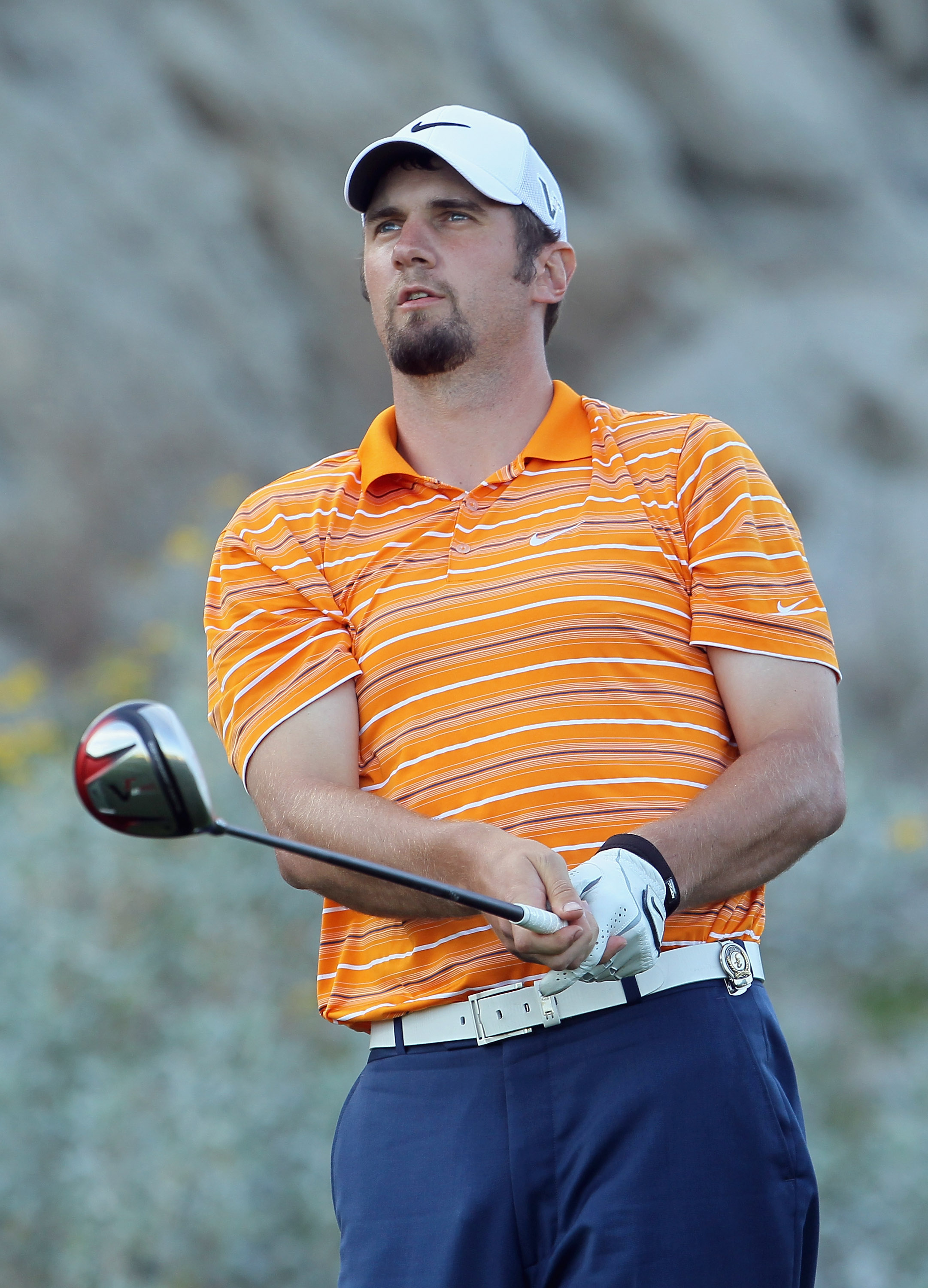 LA QUINTA, CA - JANUARY 19:  Arizona Cardinals quarterback Derek Anderson watches his tee shot on the 18th hole during the first round of the Bob Hope Classic at the Silver Rock Resort on January 19, 2011 in La Quinta, California.  (Photo by Jeff Gross/Ge