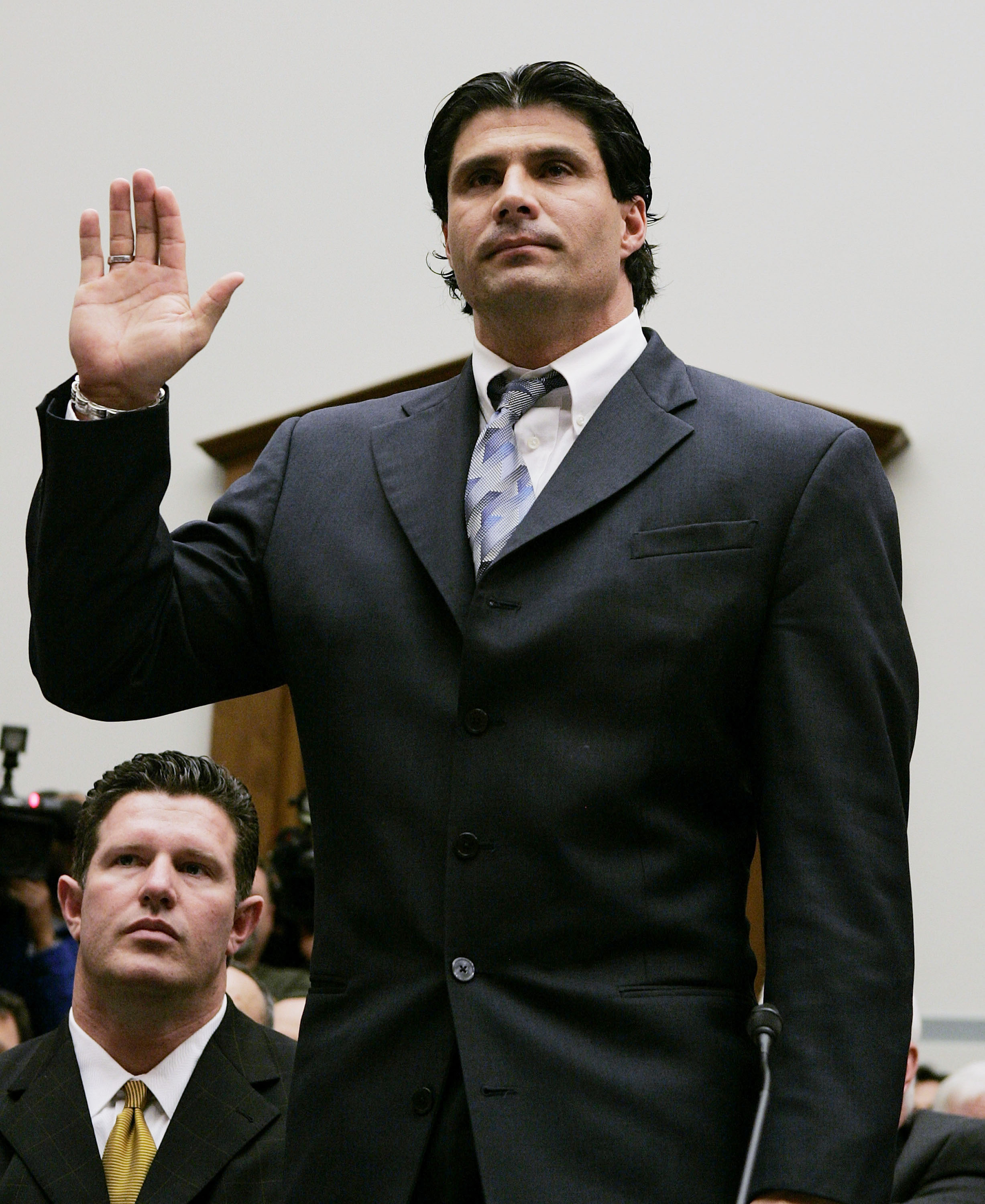WASHINGTON - MARCH 17:  Former Major League Baseball player Jose Canseco is sworn in during a House Committe session investigating Major League Baseball's effort to eradicate steroid use on Capital Hill March 17, 2005 in Washington, DC. Major League Baseb