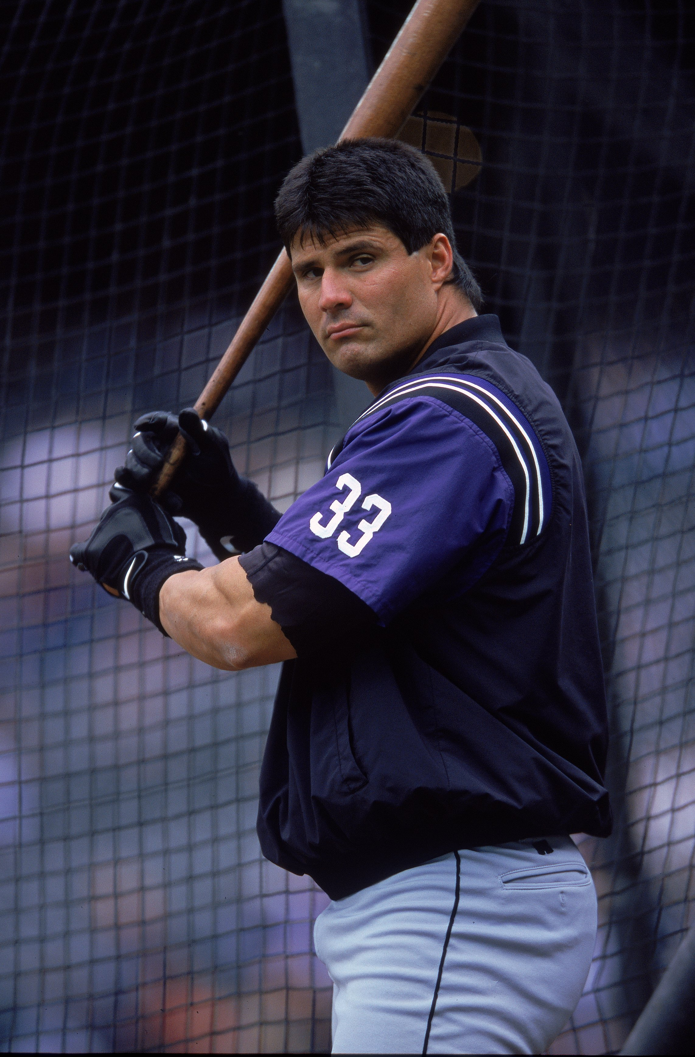 21 May 2000: Jose Canseco #33 of the Tampa Bay Devil Rays at batting practice before the game against the Seattle Mariners at the Safeco Field in Seattle, Washington. The Mariners defeated the Devil Rays 8-4.Mandatory Credit: Otto Greule Jr.  /Allsport