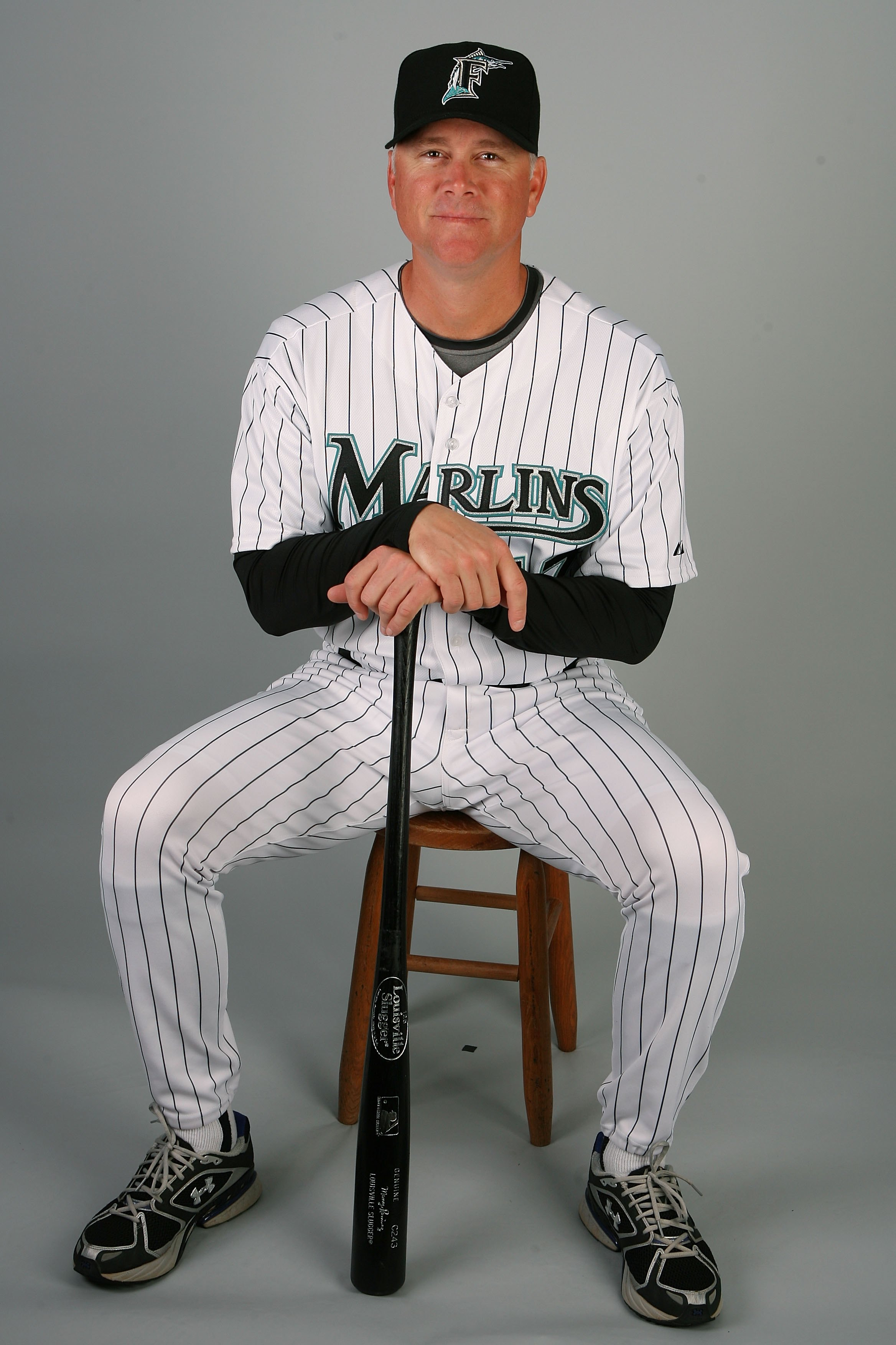 JUPITER, FL - MARCH 02:  Hitting coach Jim Presley #17 of the Florida Marlins poses during photo day at Roger Dean Stadium on March 2, 2010 in Jupiter, Florida.  (Photo by Doug Benc/Getty Images)