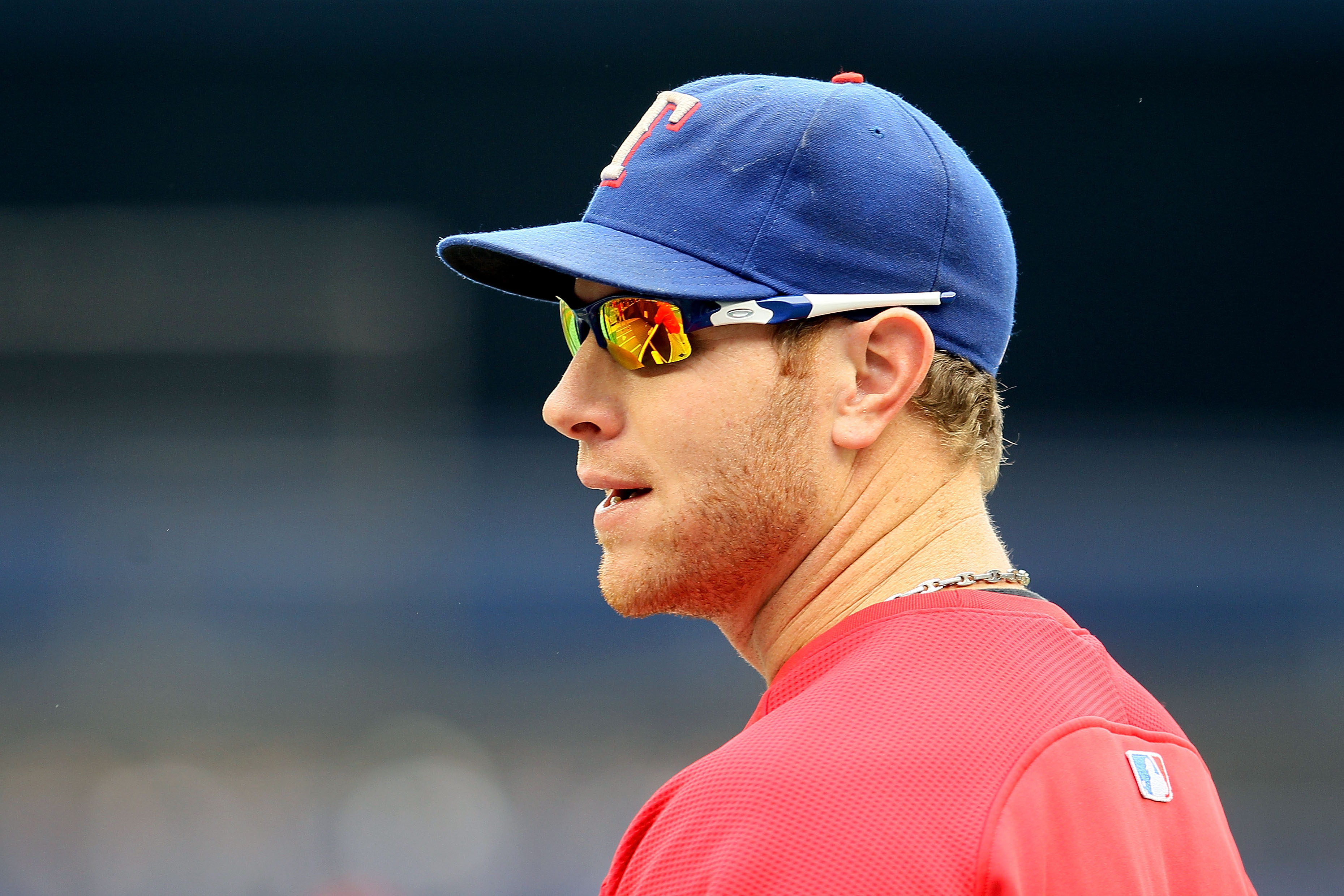 NEW YORK - OCTOBER 20:  Josh Hamilton #32 of the Texas Rangers looks on prior to playing in Game Five of the ALCS during the 2010 MLB Playoffs at Yankee Stadium on October 20, 2010 in the Bronx borough of New York City.  (Photo by Jim McIsaac/Getty Images