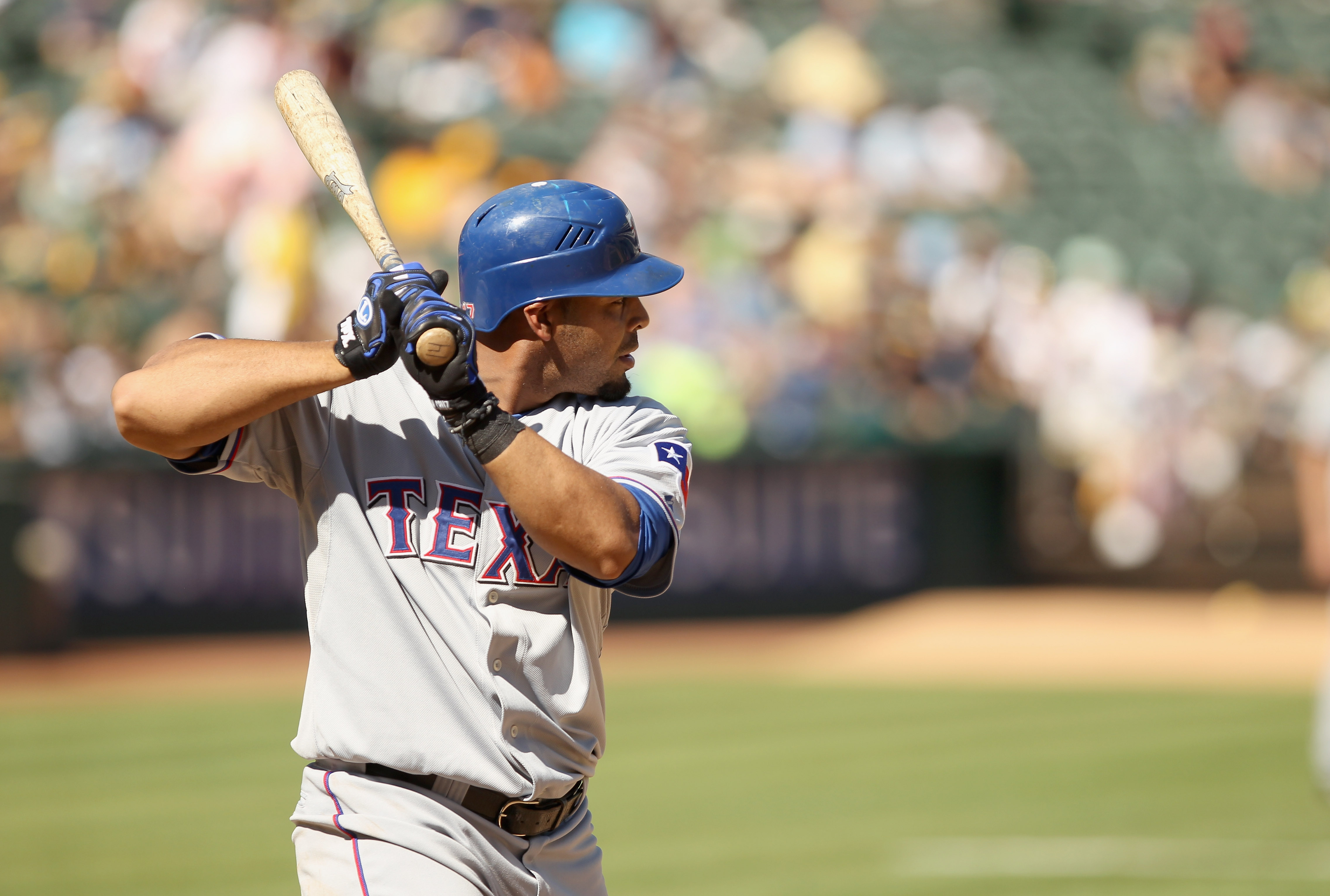 OAKLAND, CA - SEPTEMBER 25:  Nelson Cruz #17 of the Texas Rangers bats against the Oakland Athletics at the Oakland-Alameda County Coliseum on September 25, 2010 in Oakland, California.  (Photo by Ezra Shaw/Getty Images)