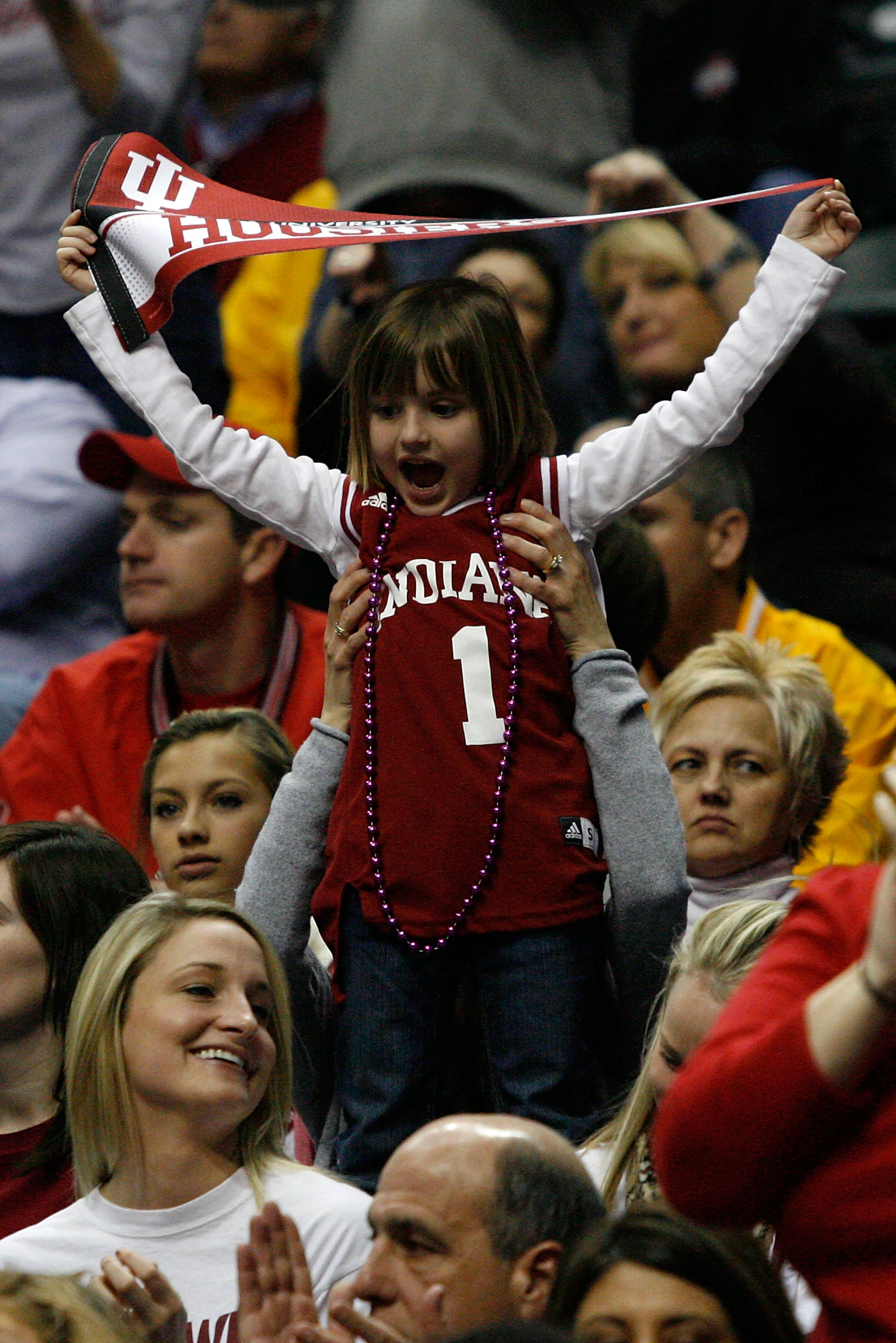 INDIANAPOLIS, IN - MARCH 10:  A young fan supports the Indiana Hoosiers against the Penn State Nittany Lions during the first round of the 2011 Big Ten Men's Basketball Tournament at Conseco Fieldhouse on March 10, 2011 in Indianapolis, Indiana.  (Photo b