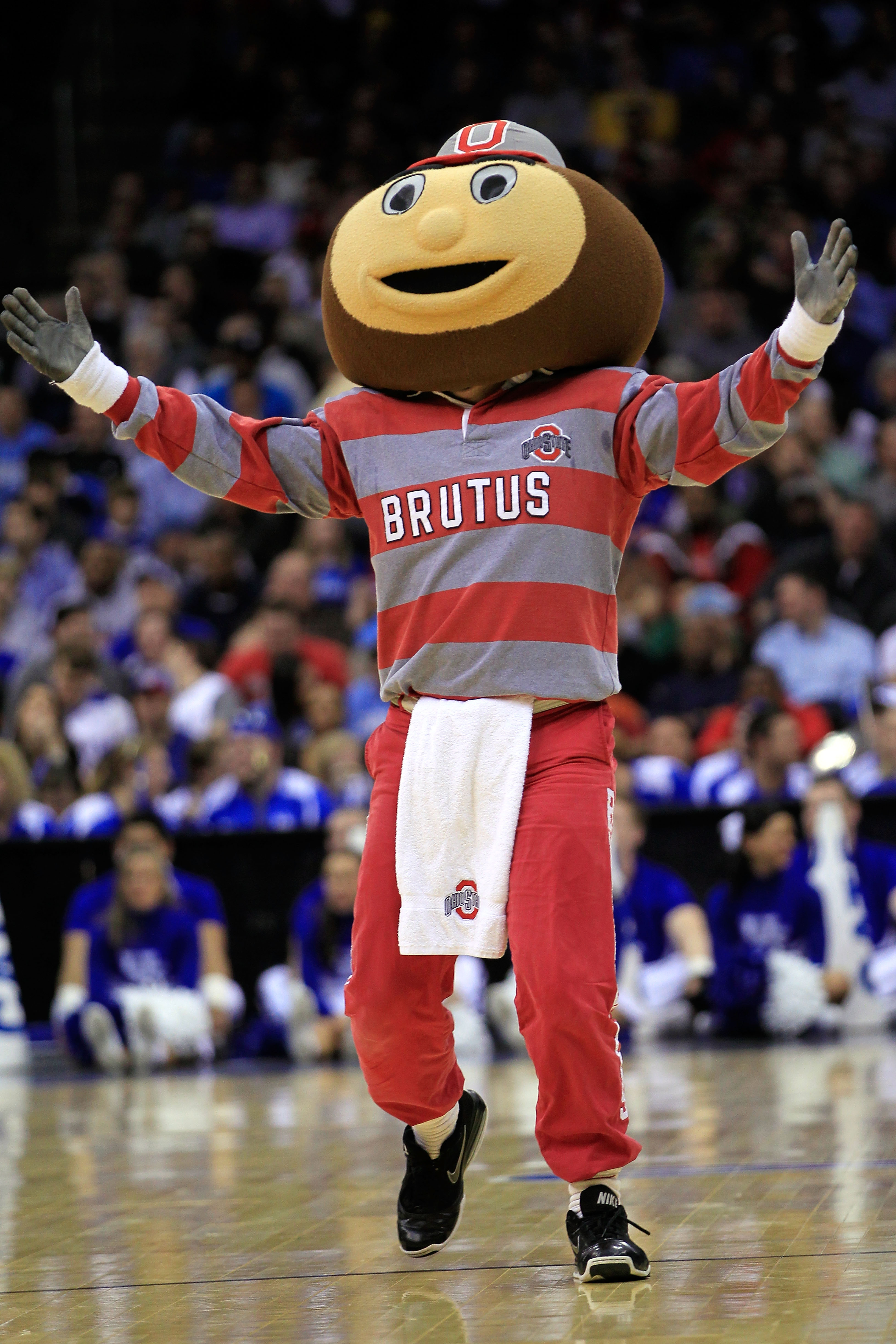 NEWARK, NJ - MARCH 25: Brutus the Ohio State Buckeyes mascot walks on the court during the game against the Kentucky Wildcats in the east regional semifinal of the 2011 NCAA Men's Basketball Tournament at the Prudential Center on March 25, 2011 in Newark,
