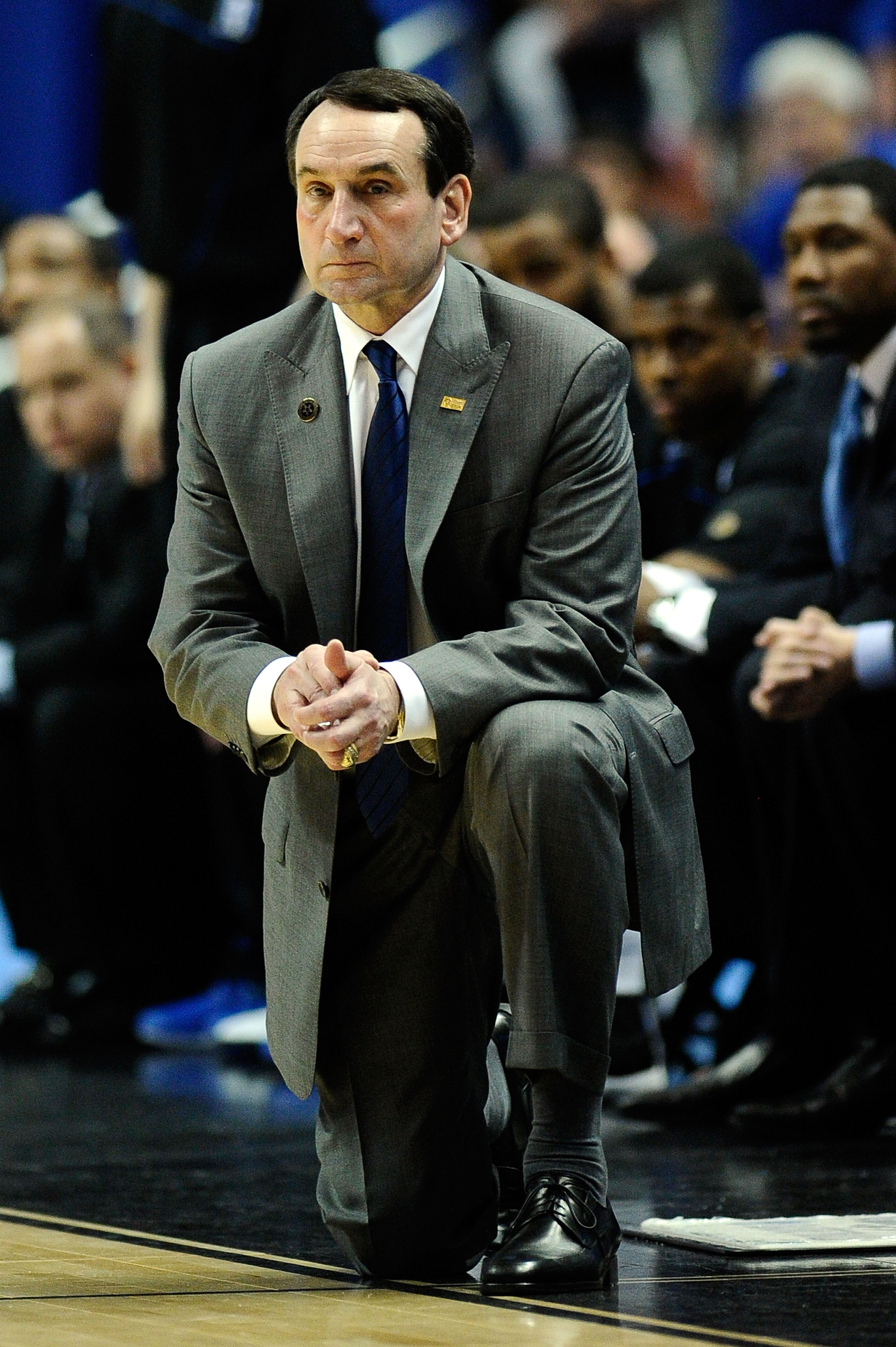 ANAHEIM, CA - MARCH 24:  Head coach Mike Krzyzewski of the Duke Blue Devils looks on from the sidelines during the west regional semifinal of the 2011 NCAA men's basketball tournament at the Honda Center on March 24, 2011 in Anaheim, California.  (Photo b