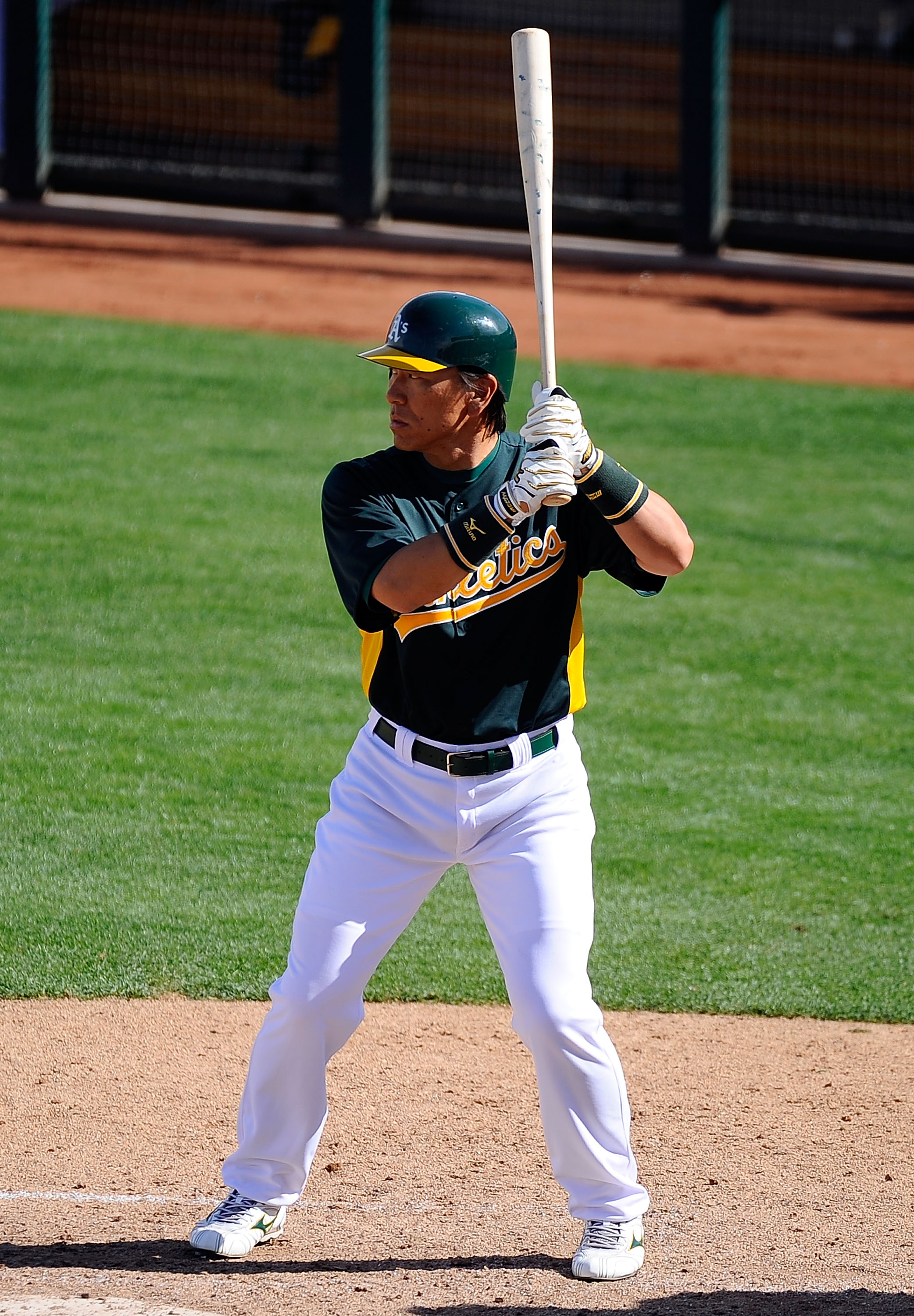 PHOENIX, AZ - MARCH 15:  Hideki Matsui #55 of the Oakland Athletics at bat against the Chicago Cubs during the spring training baseball game at Phoenix Municipal Stadium on March 15, 2011 in Phoenix, Arizona.  (Photo by Kevork Djansezian/Getty Images)