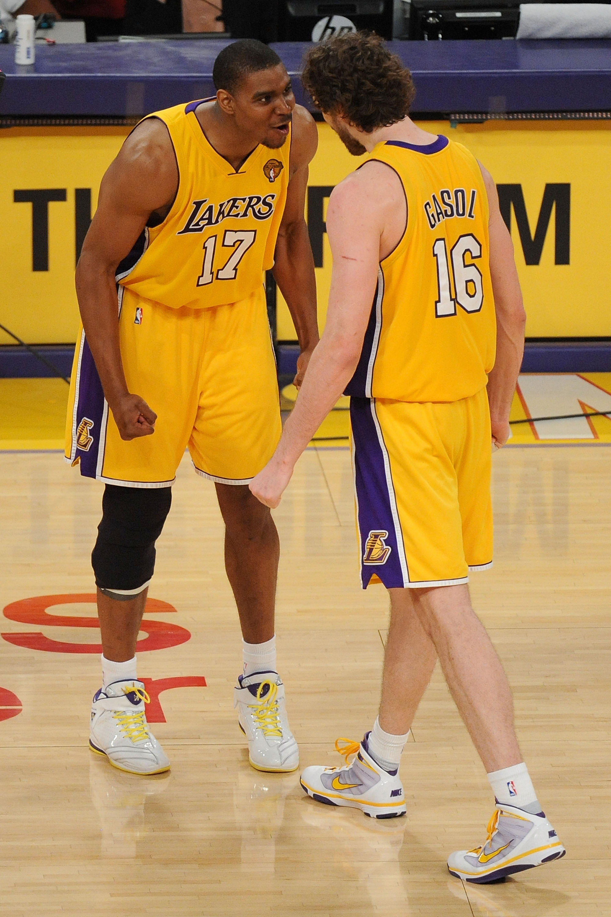 LOS ANGELES, CA - JUNE 17:  Andrew Bynum #17 and Pau Gasol #16 of the Los Angeles Lakers react in the second half while taking on the Boston Celtics in Game Seven of the 2010 NBA Finals at Staples Center on June 17, 2010 in Los Angeles, California.  NOTE