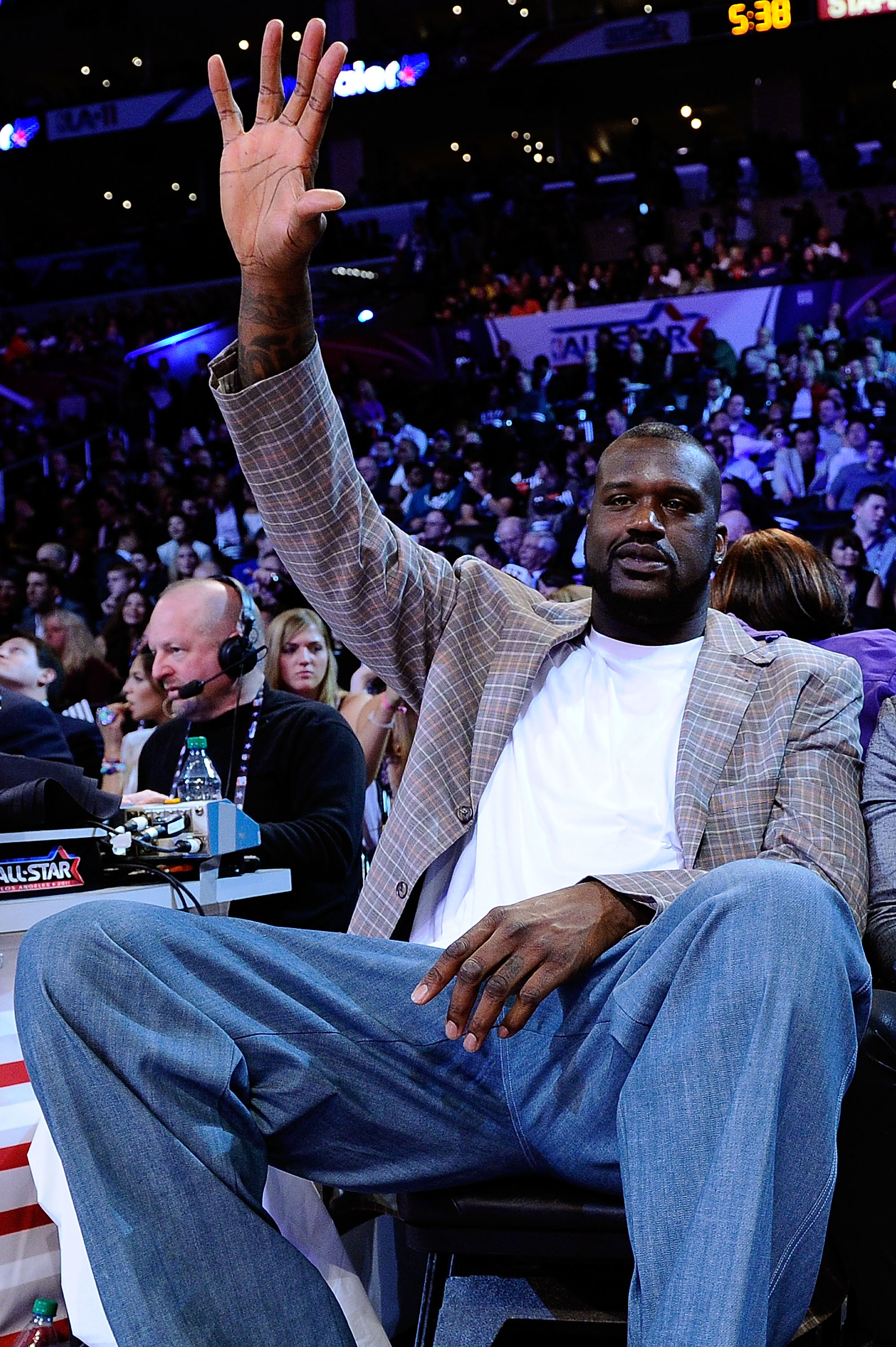 LOS ANGELES, CA - FEBRUARY 19:  Shaquille O'Neal of the Boston Celtics waves as he attends NBA All-Star Saturday night presented by State Farm at Staples Center on February 19, 2011 in Los Angeles, California.  (Photo by Kevork Djansezian/Getty Images)