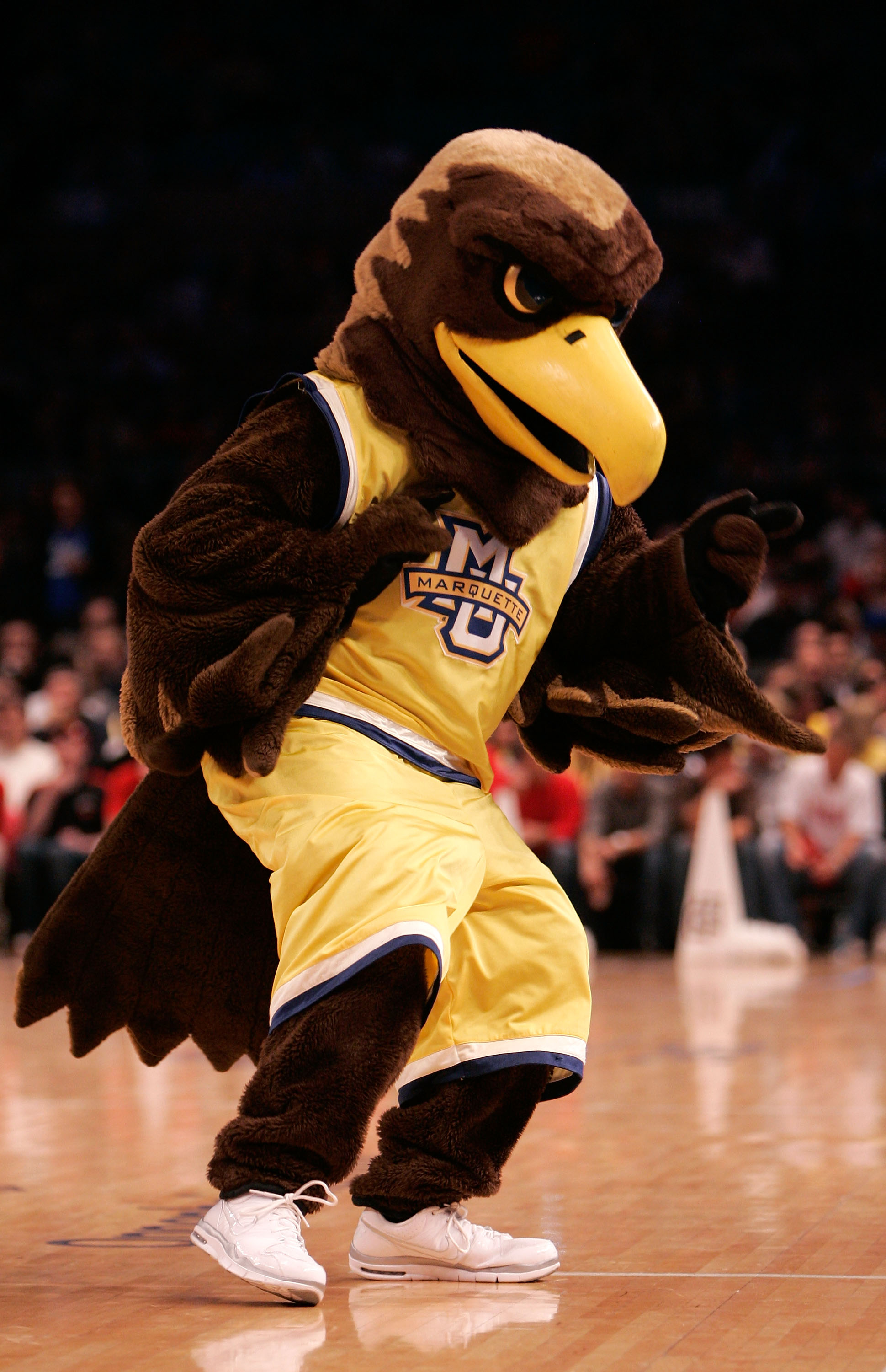 NEW YORK, NY - MARCH 10:  The Marquette Golden Eagles mascot walks on the court during the game against the Louisville Cardinals during the quarterfinals of the 2011 Big East Men's Basketball Tournament presented by American Eagle Outfitters  at Madison S
