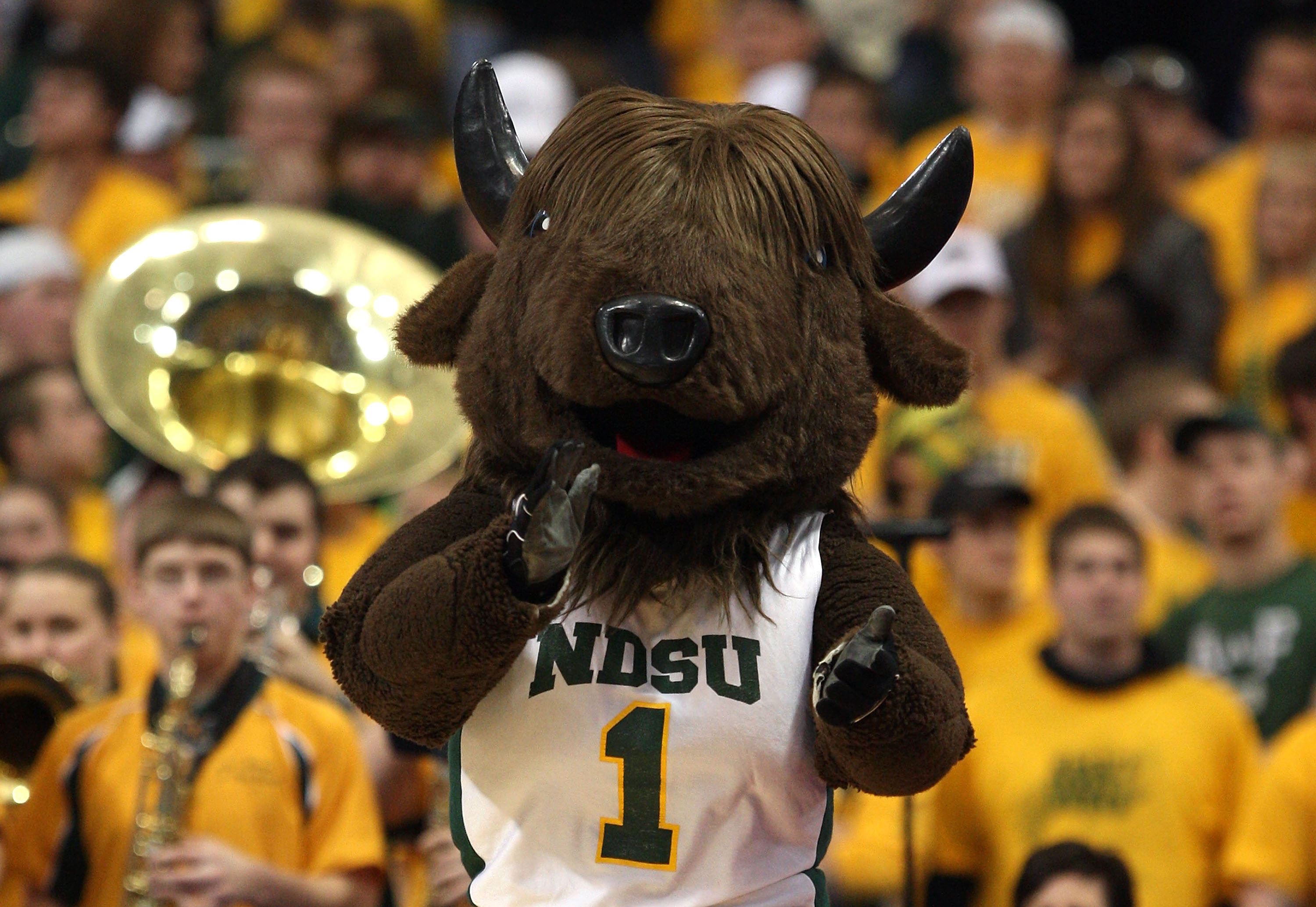 MINNEAPOLIS - MARCH 20:   Thundar, the mascot of the North Dakota State Bison, performs against the Kansas Jayhawks during the first round of the NCAA Division I Men's Basketball Tournament at the Hubert H. Humphrey Metrodome on March 20, 2009 in Minneapo
