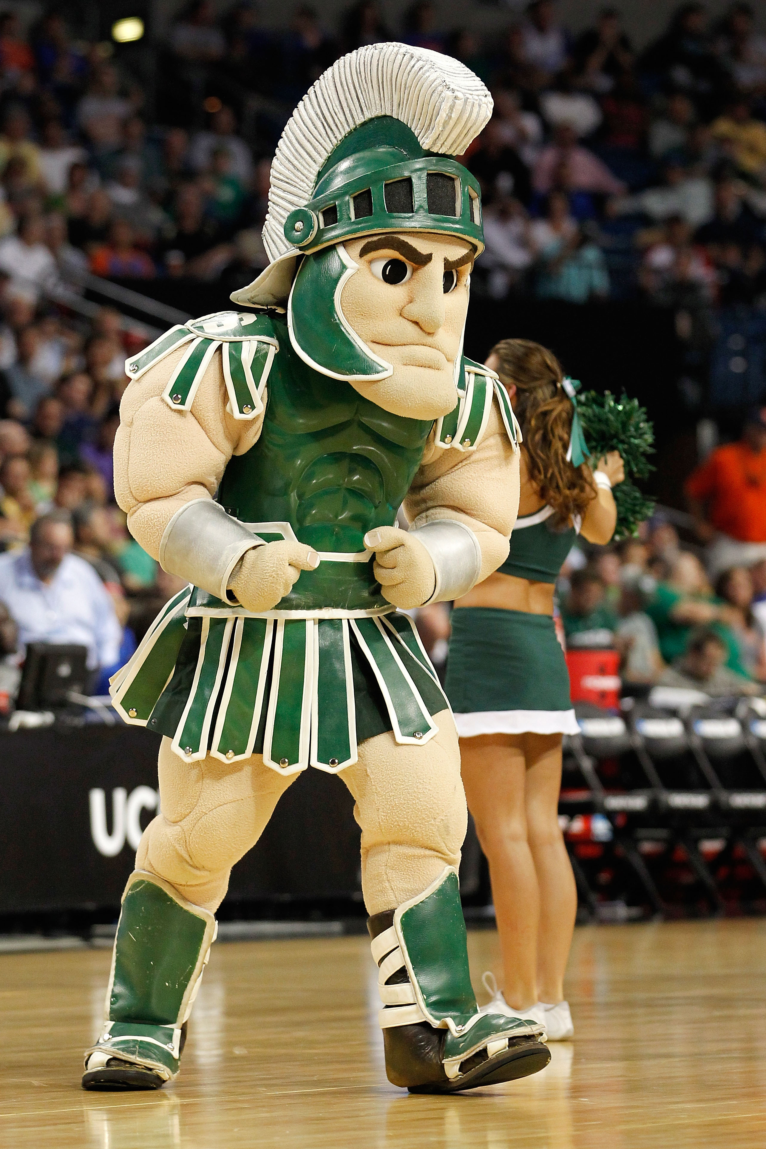 TAMPA, FL - MARCH 17:  Sparty, the mascot for the Michigan State Spartans performs against the UCLA Bruins during the second round of the 2011 NCAA men's basketball tournament at St. Pete Times Forum on March 17, 2011 in Tampa, Florida.  (Photo by J. Meri