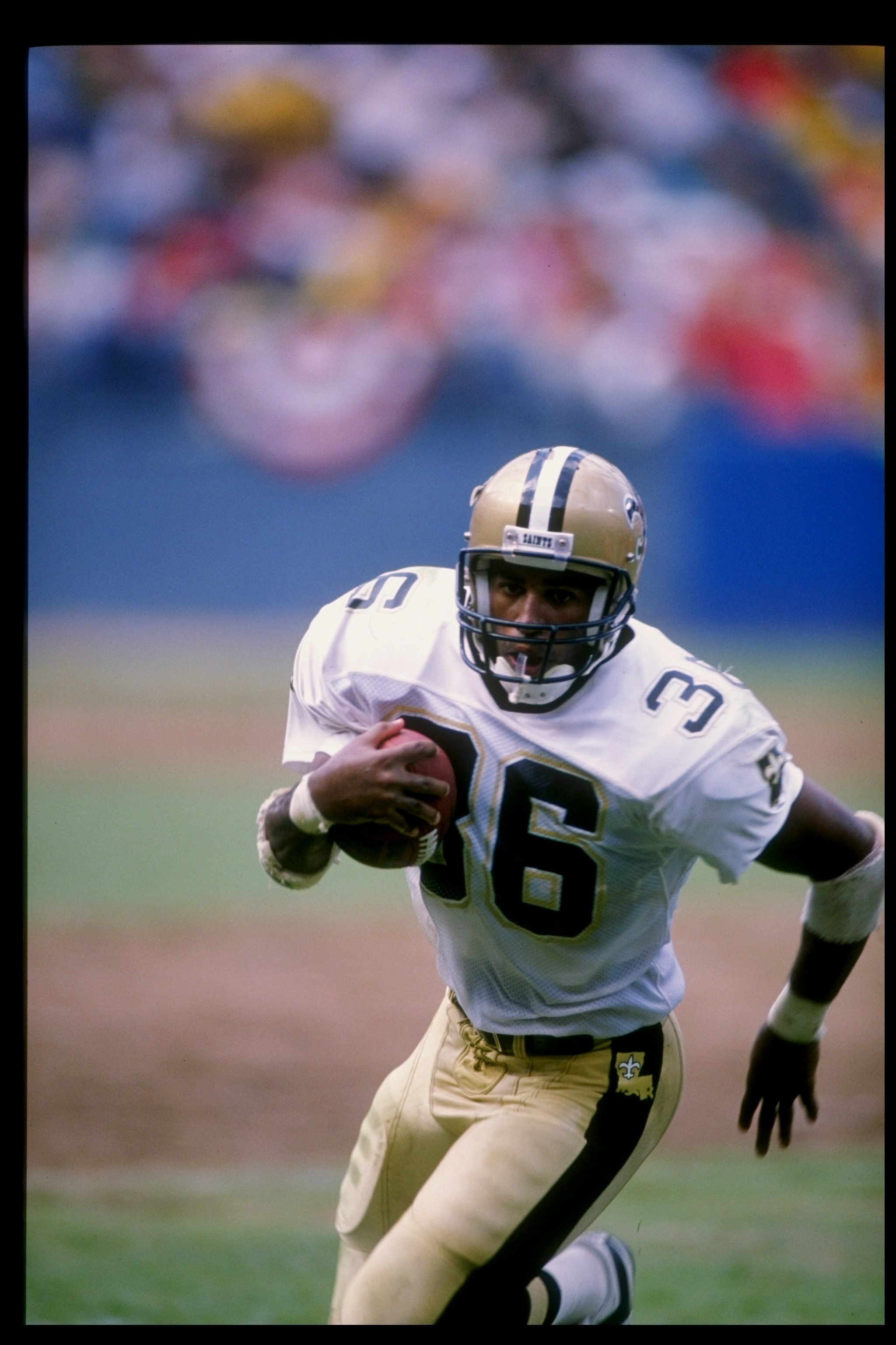 11 Sep 1988: Halfback Rueben Mayes of the New Orleans Saints runs with the ball during a game against the Atlanta Falcons at Fulton County Stadium in Atlanta, Georgia. The Saints won the game 29-21.