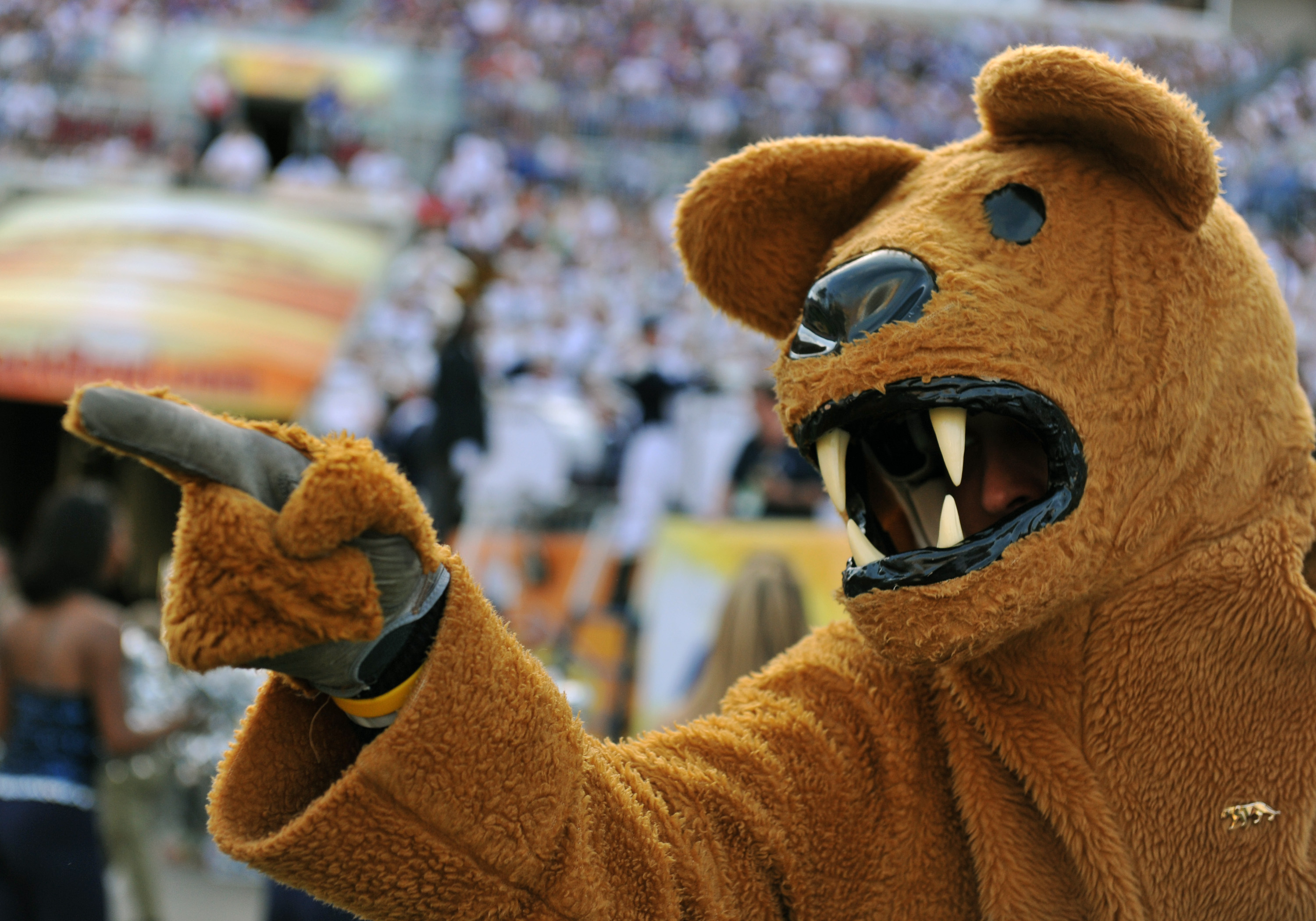 TAMPA, FL - JANUARY 1:  The mascot of the Penn State Nittany Lions points to the field during play against the Florida Gators January 1, 2010 in the 25th Outback Bowl at Raymond James Stadium in Tampa, Florida.  (Photo by Al Messerschmidt/Getty Images)