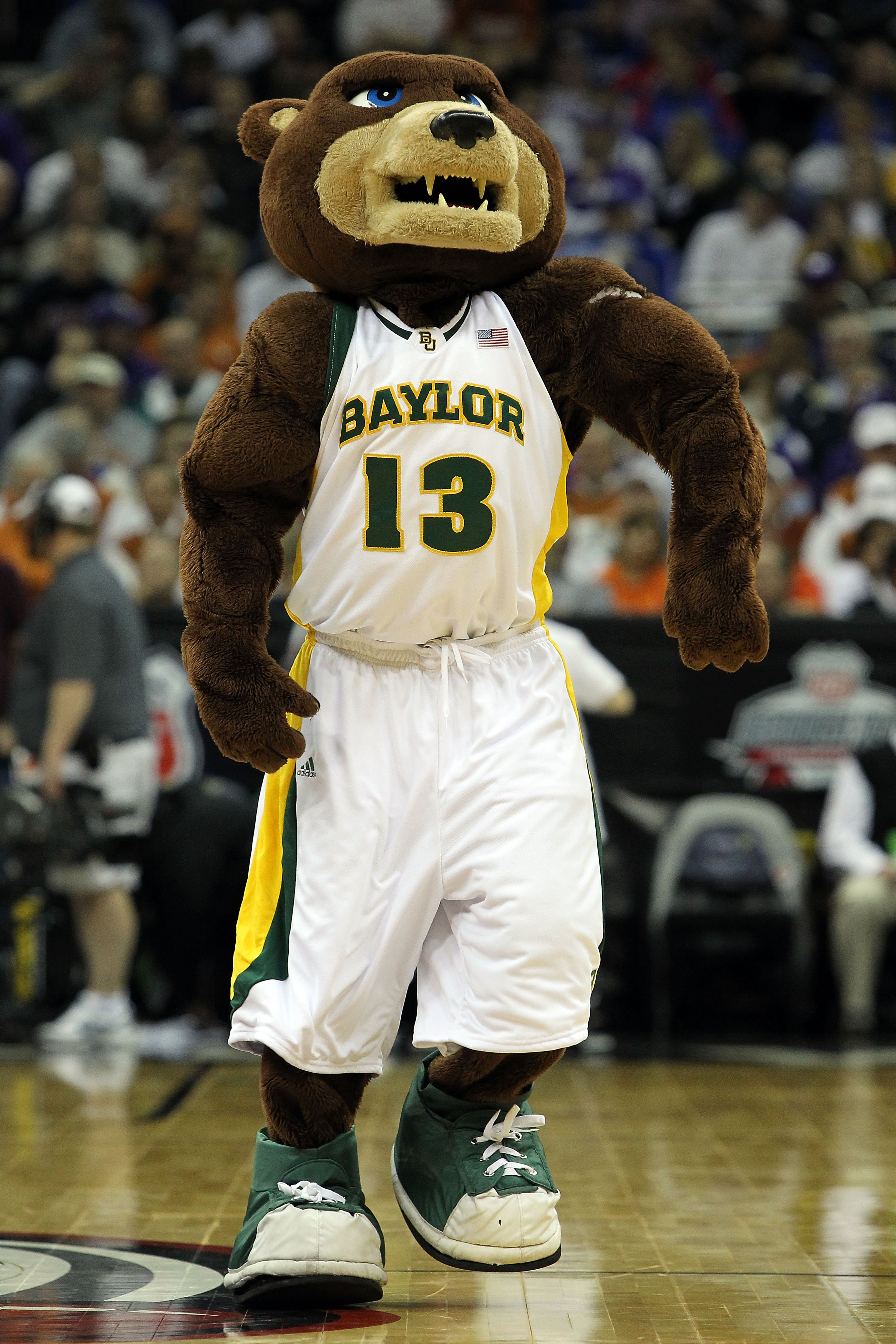 KANSAS CITY, MO - MARCH 11:  The mascot of the Baylor Bears performs on the court during a timeout in the game between the Bears and the Texas Longhorns during the quarterfinals of the 2010 Phillips 66 Big 12 Men's Basketball Tournament at the Sprint Cent