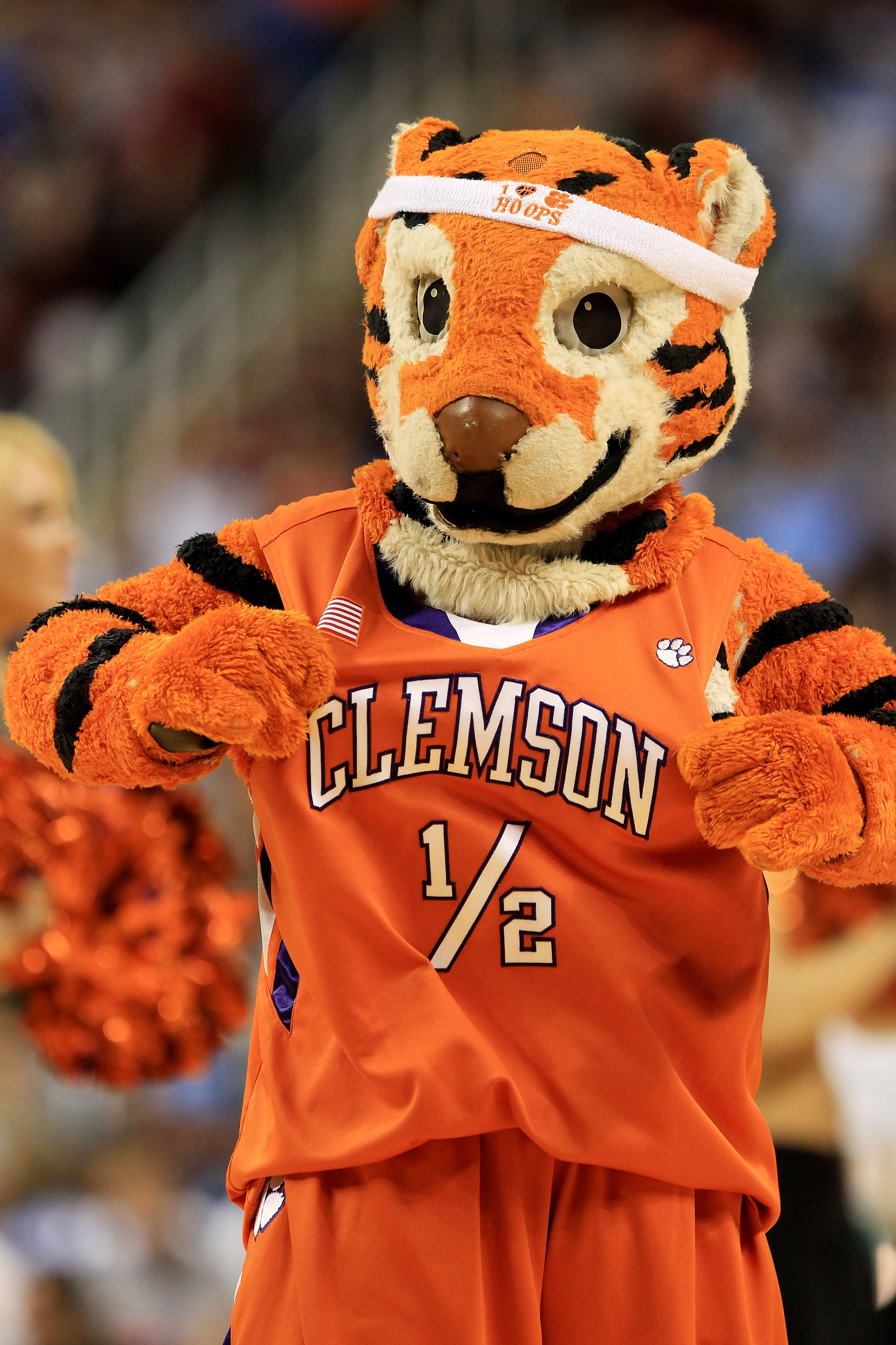 GREENSBORO, NC - MARCH 12:  The Clemson Tigers mascot performs during the second half against the North Carolina Tar Heels in the semifinals of the 2011 ACC men's basketball tournament at the Greensboro Coliseum on March 12, 2011 in Greensboro, North Caro