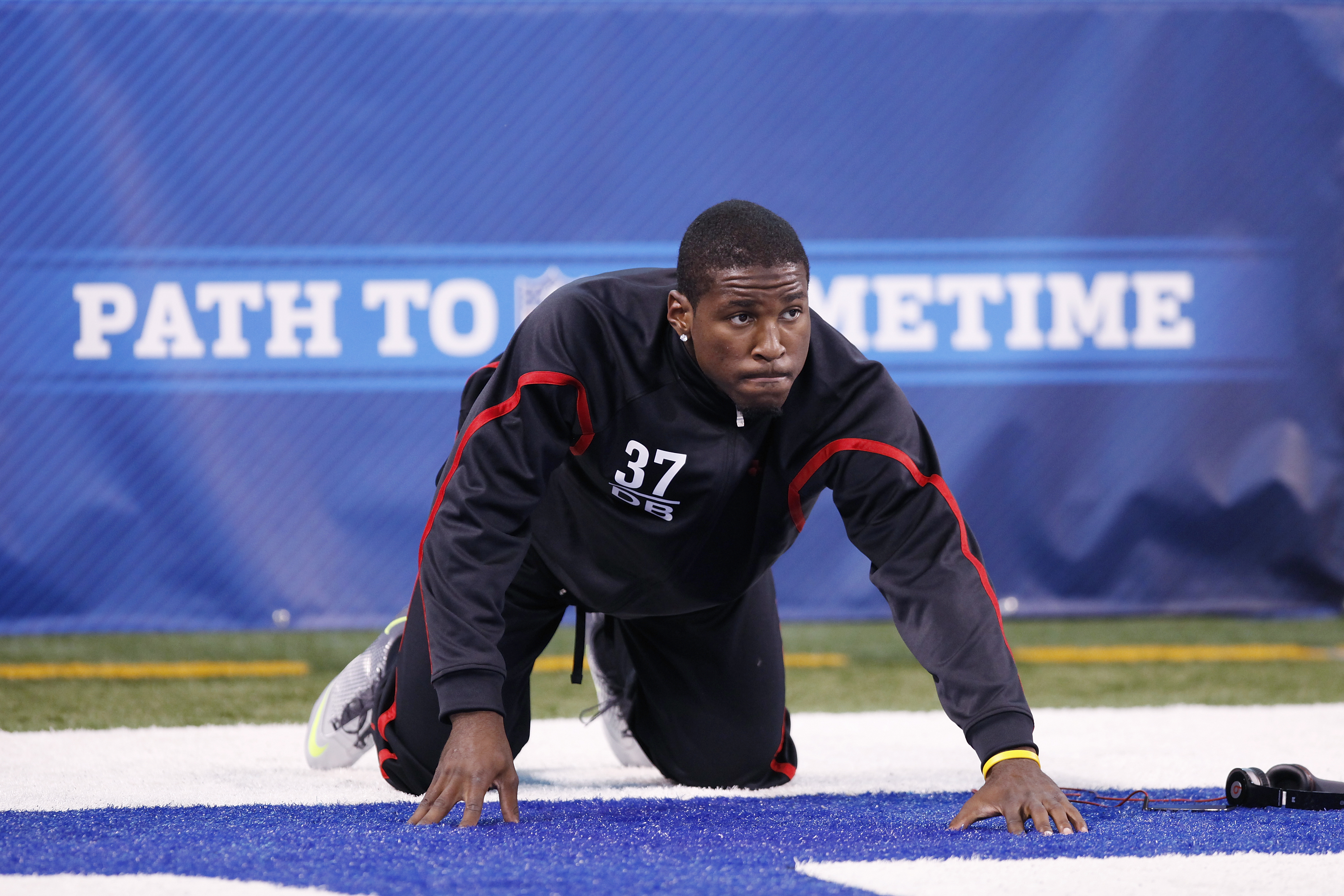 INDIANAPOLIS, IN - MARCH 1: Defensive back Patrick Peterson #37 of LSU stretches before working out during the 2011 NFL Scouting Combine at Lucas Oil Stadium on February 28, 2011 in Indianapolis, Indiana. (Photo by Joe Robbins/Getty Images)