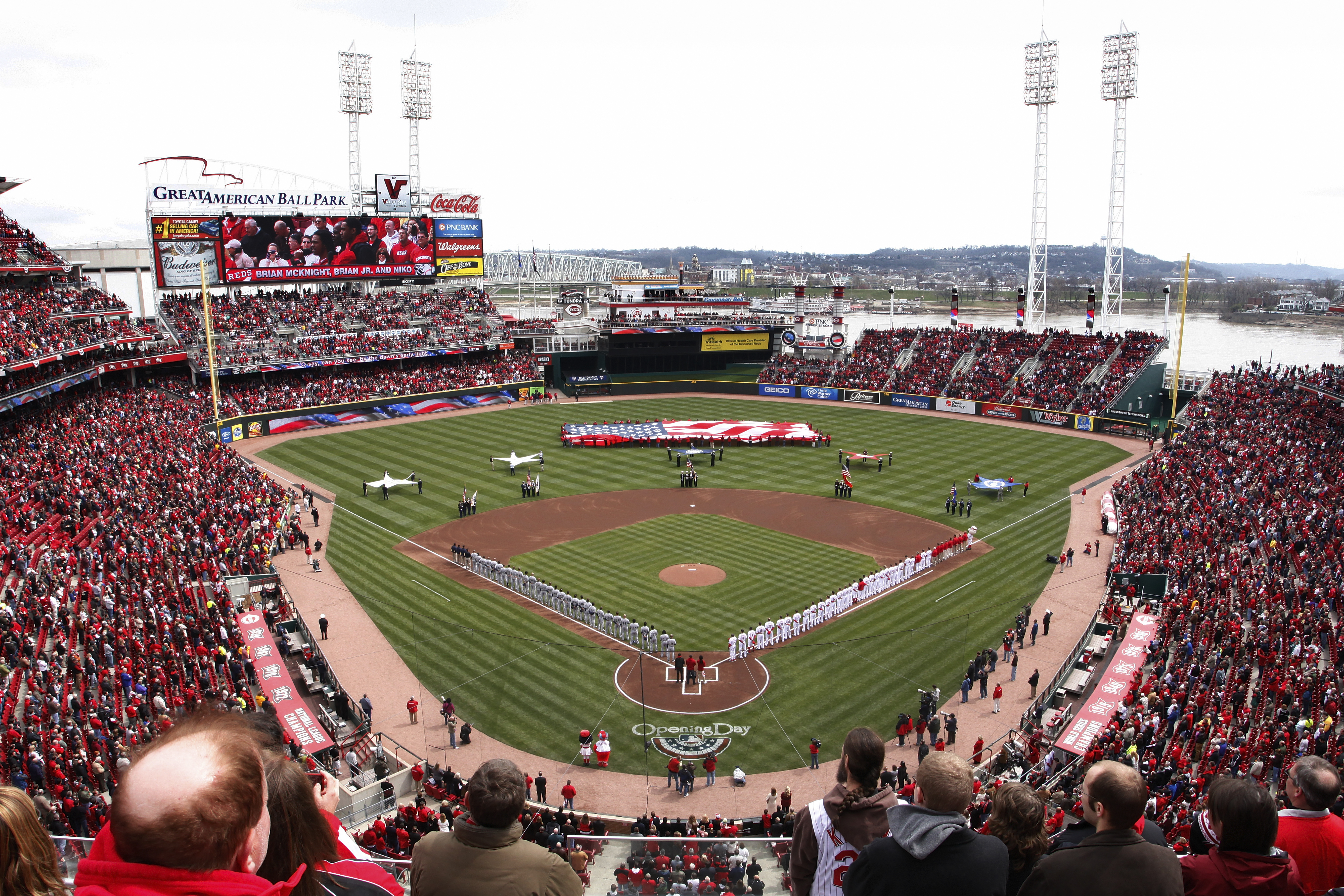 CINCINNATI, OH - MARCH 31: General view during the National Anthem prior to the opening day game between the Cincinnati Reds and the Milwaukee Brewers at Great American Ballpark on March 31, 2011 in Cincinnati, Ohio. (Photo by Joe Robbins/Getty Images)