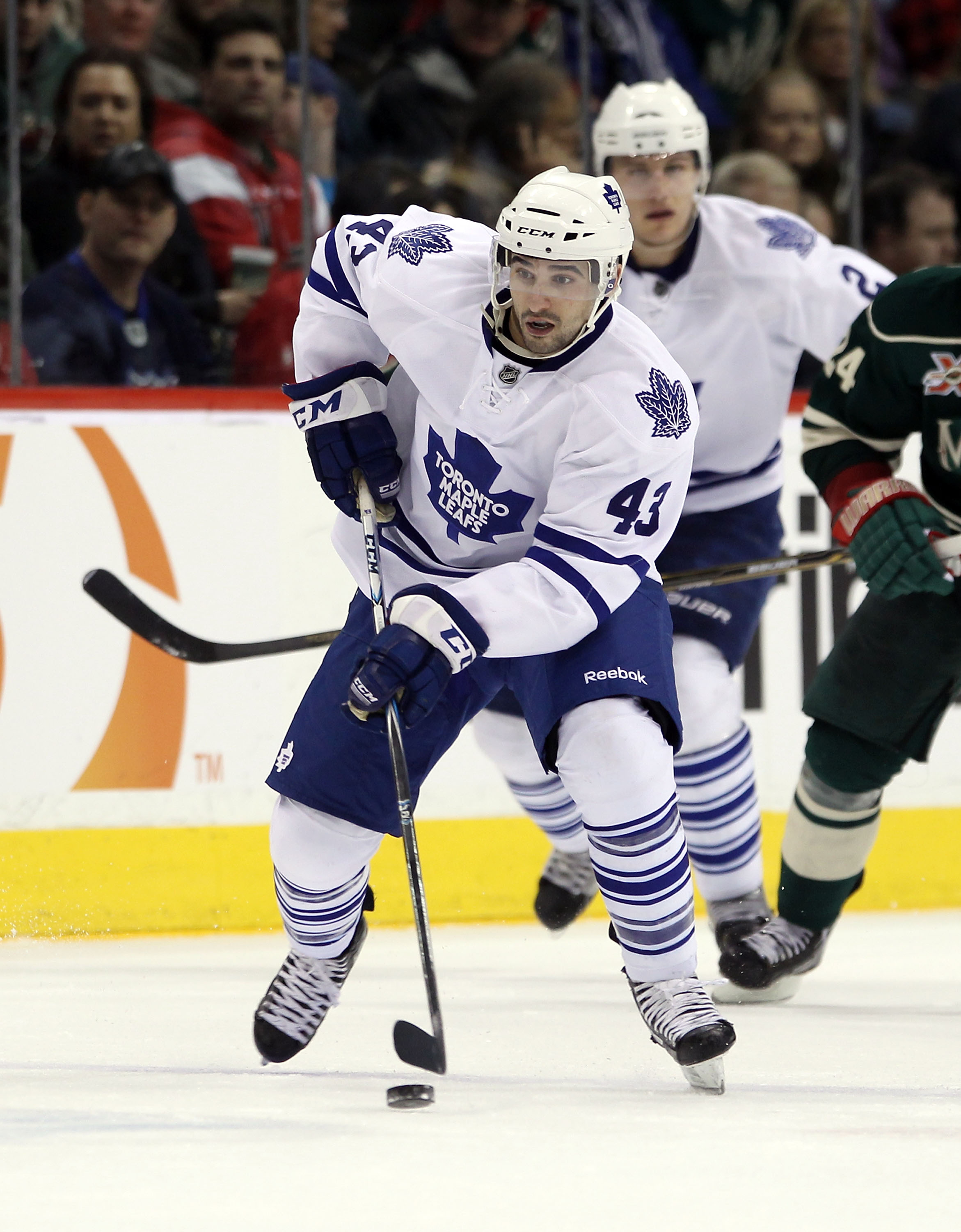 ST PAUL, MN - MARCH 22:  Nazem Kadri #43 of the Toronto Maple Leafs skates against the Toronto Maple Leafs at the Xcel Energy Center on March 22, 2011 in St Paul, Minnesota.  (Photo by Bruce Bennett/Getty Images)