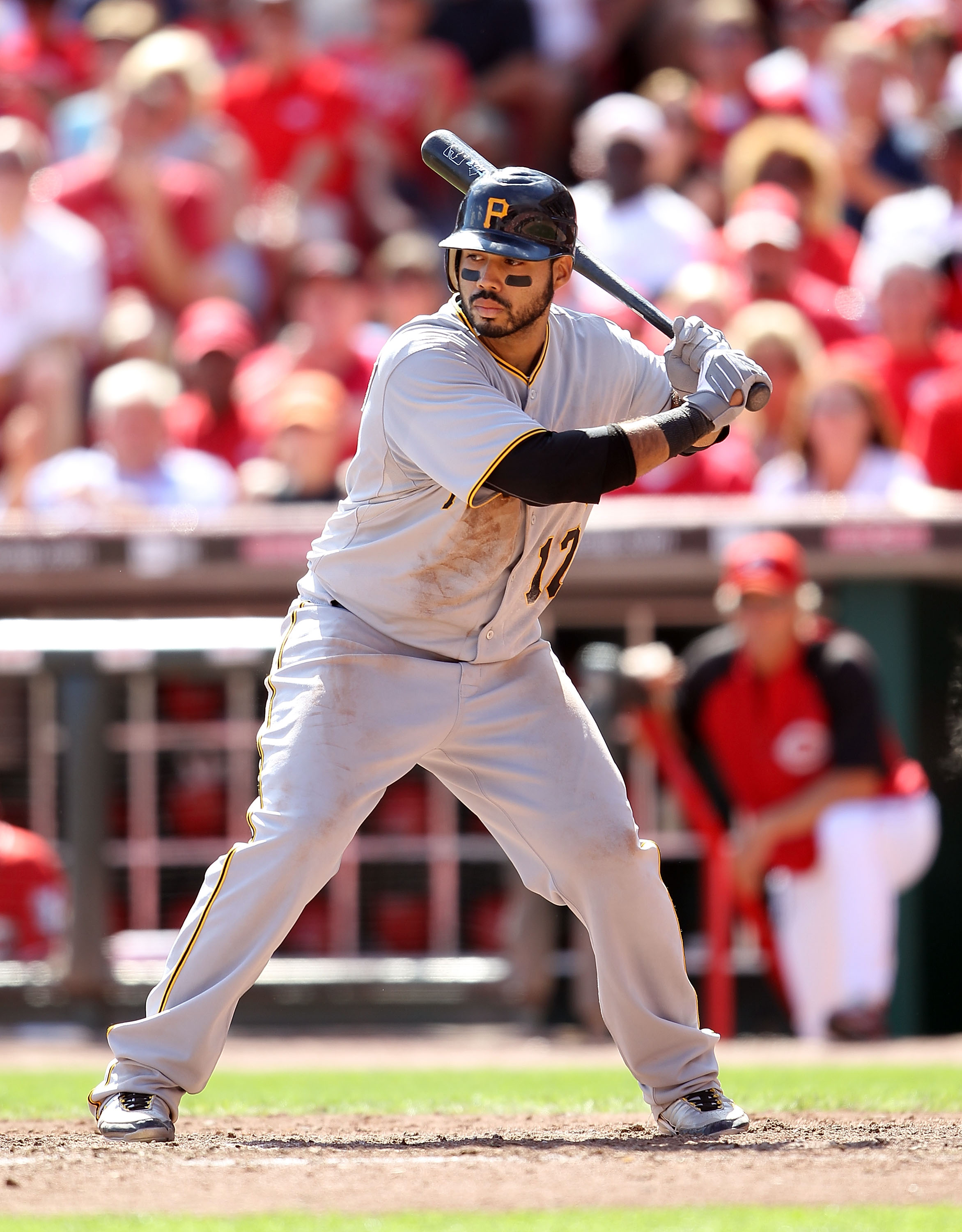 CINCINNATI - SEPTEMBER 12:  Pedro Alvarez #17 of the Pittsburgh Pirates is pictured during the game against the Cincinnati Reds at Great American Ballpark on September 12, 2010 in Cincinnati, Ohio.  (Photo by Andy Lyons/Getty Images)