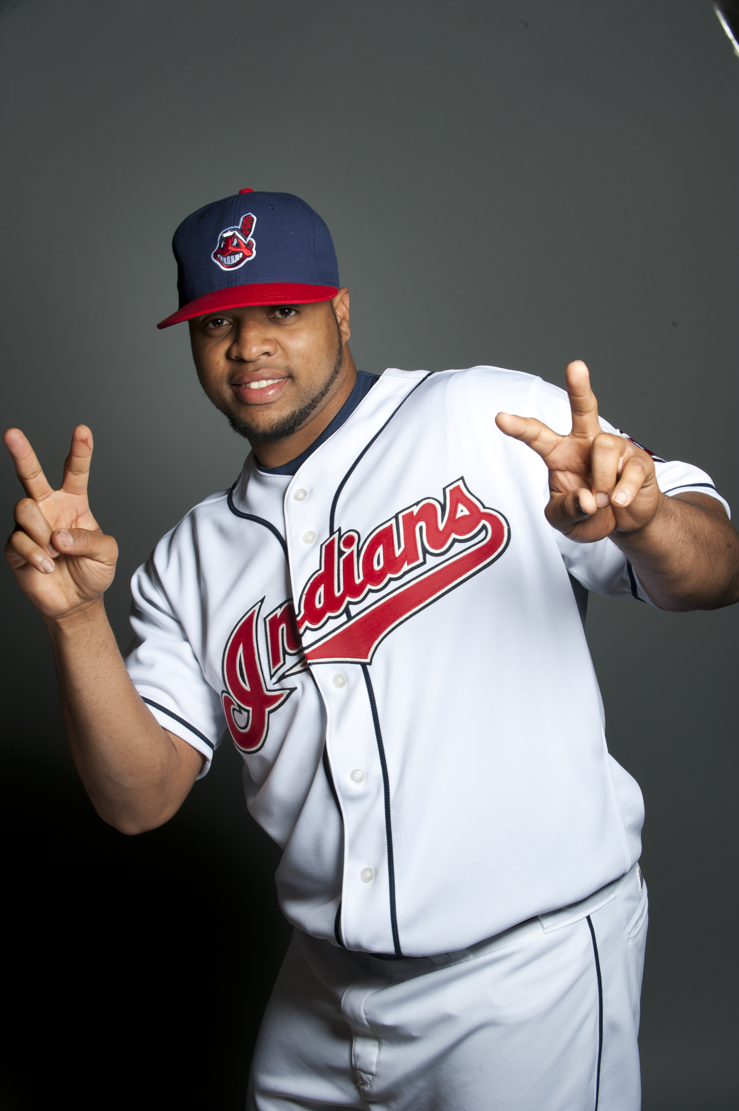 GOODYEAR, AZ - FEBRUARY 22: Carlos Santana #41of the Cleveland Indians poses during their photo day at the Cleveland Indians Spring Training Complex on February 22, 2011 in Goodyear, Arizona. (Photo by Rob Tringali/Getty Images)