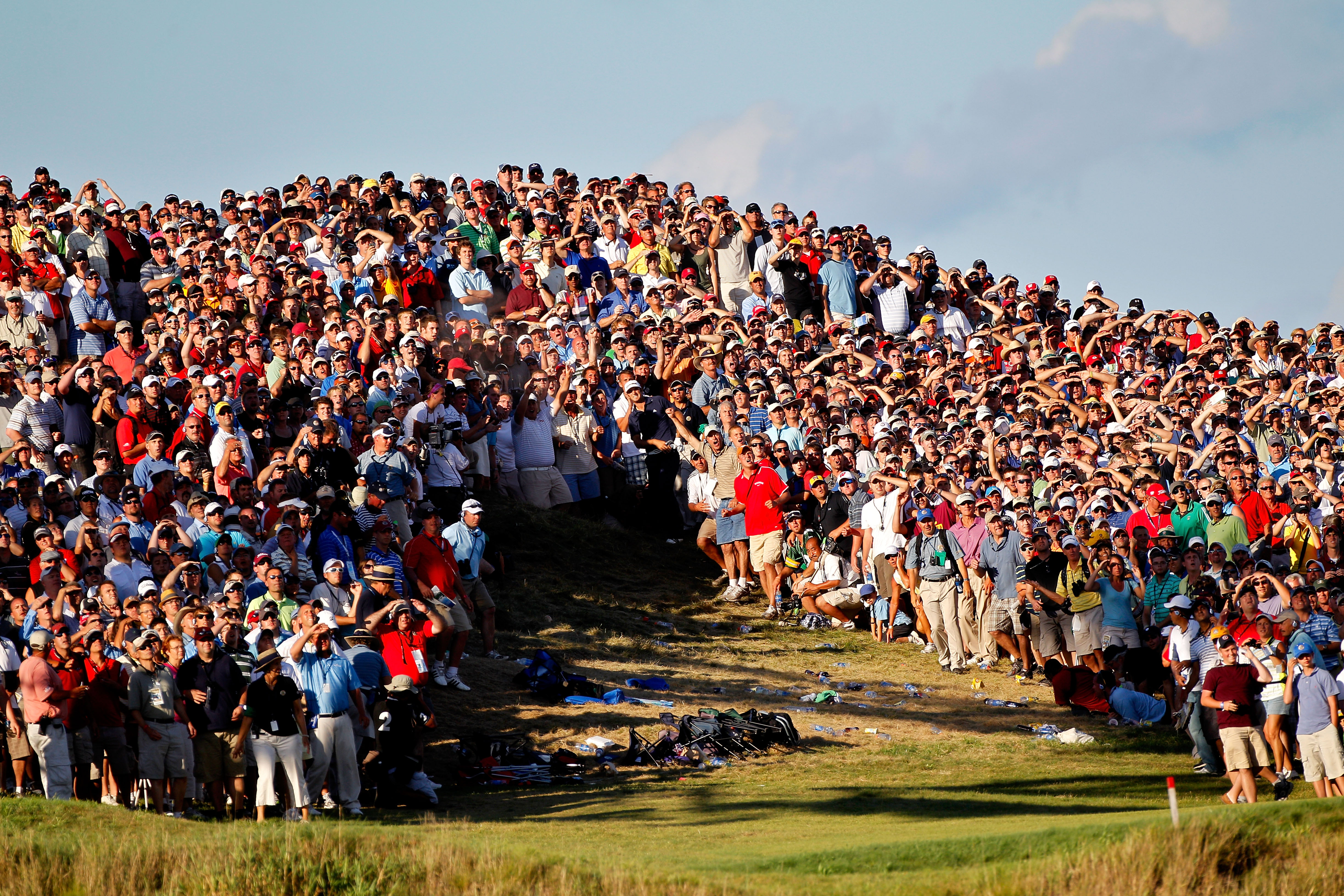 KOHLER, WI - AUGUST 15:  Dustin Johnson hits his second shot on the 18th hole during the final round of the 92nd PGA Championship on the Straits Course at Whistling Straits on August 15, 2010 in Kohler, Wisconsin.  (Photo by Sam Greenwood/Getty Images)