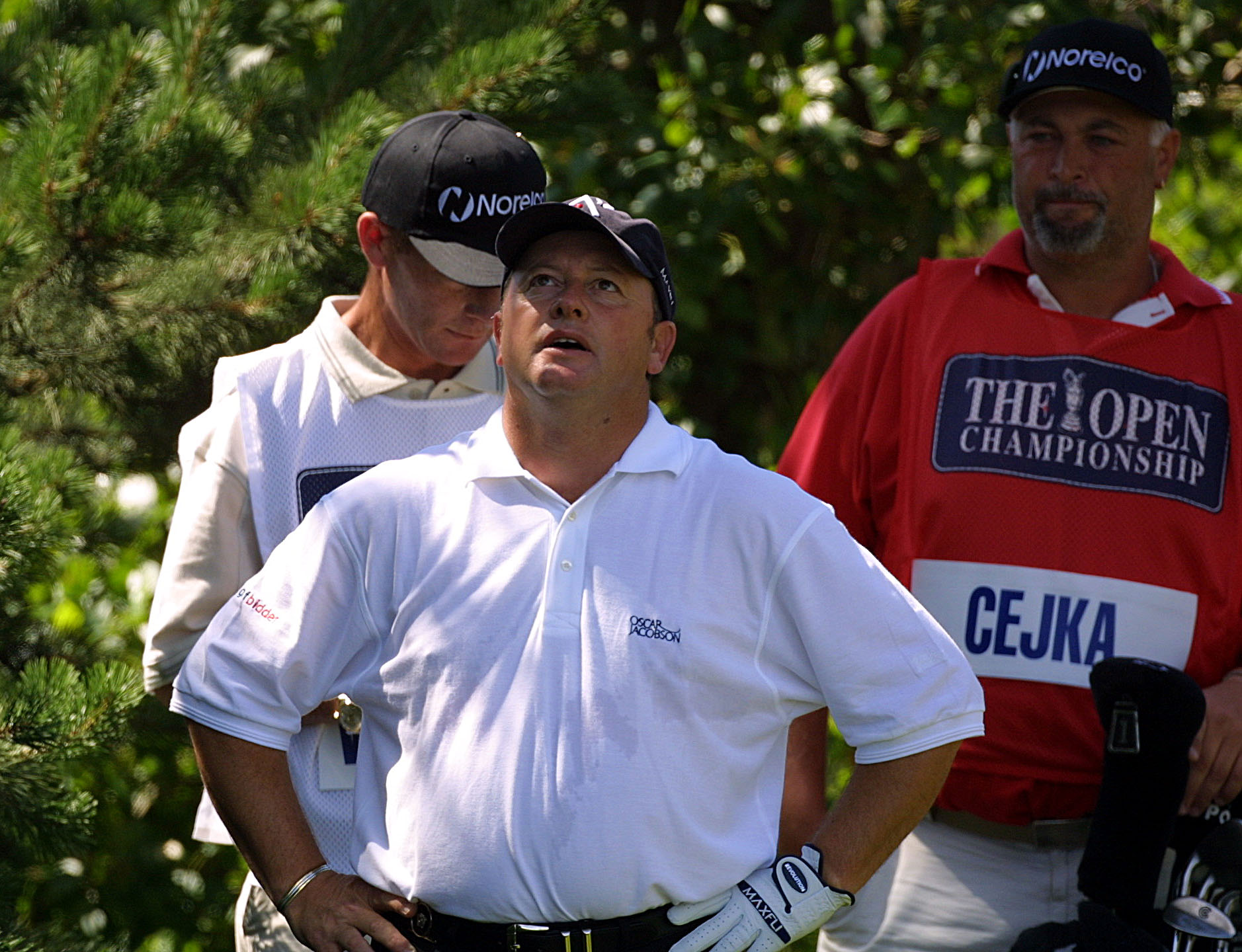 22 Jul 2001:  Ian Woosnam of Wales looks on is despair after being told by PGA tour official John  Paramor  that he has too many clubs in his bag and will be given a two shot penalty on the second tee during the fourth round of the 2001 Open Championshipa