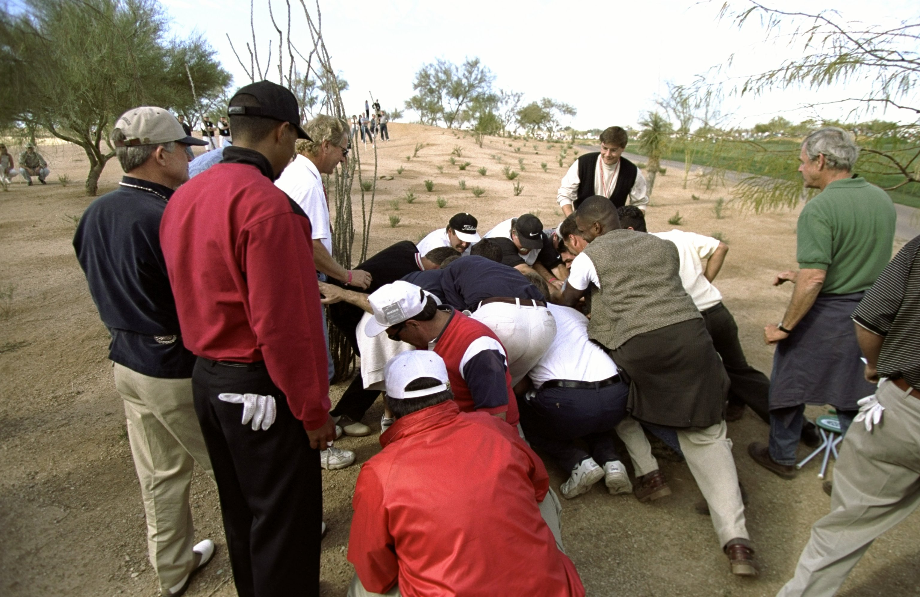 31 Jan 1999: Tiger Woods watches as fans move the boulder out of the way during the Phoenix Open at the TPC of Scottsdale in Scottsdale, Arizona.