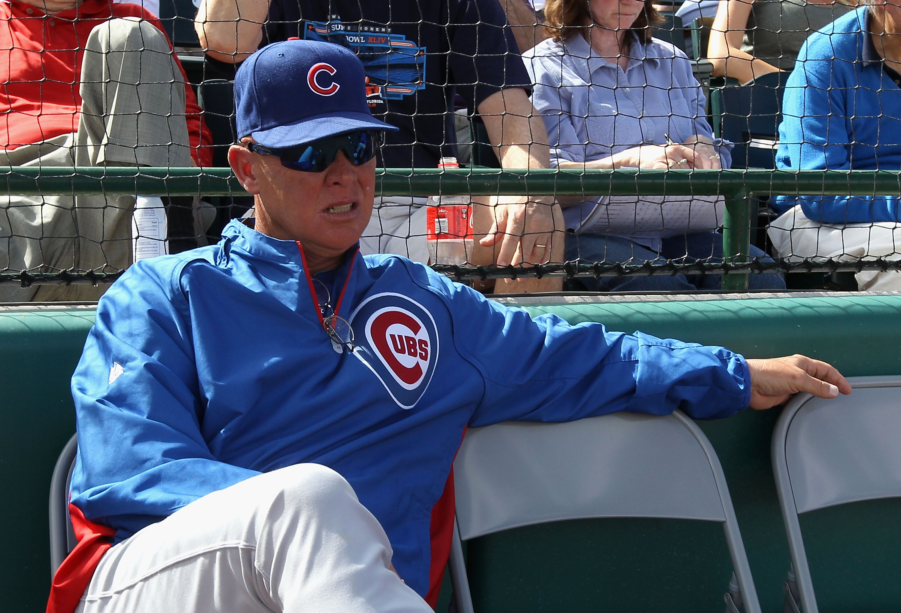 SCOTTSDALE, AZ - MARCH 01:  Manager Mike Quade of the Chicago Cubs looks on during the spring training game against the San Francisco Giants at Scottsdale Stadium on March 1, 2011 in Scottsdale, Arizona.  (Photo by Christian Petersen/Getty Images)