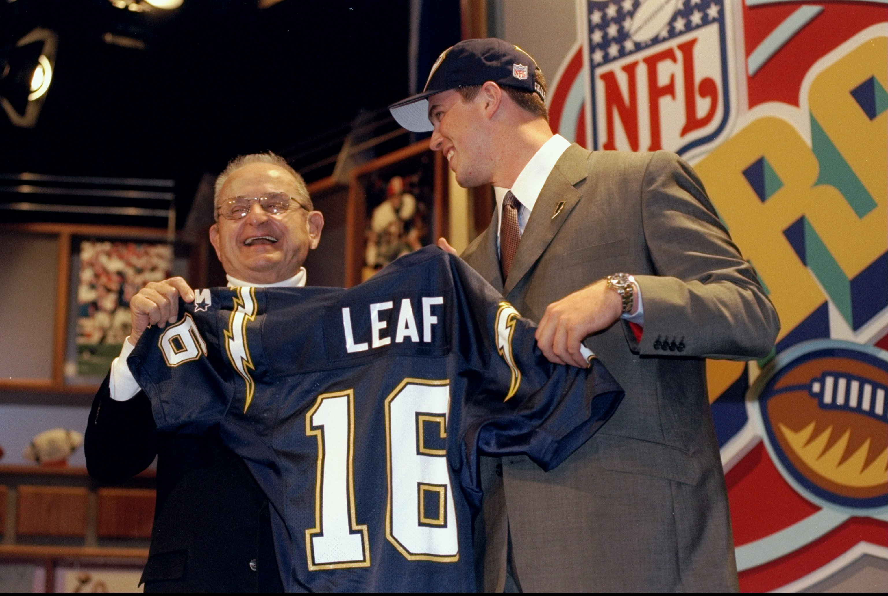 18 Apr 1998:  Quarterback Ryan Leaf stands with owner Alex Spanos of the San Diego Chargers during the NFL draft at Madison Square Garden in New York City, New York. Mandatory Credit: Ezra O. Shaw  /Allsport
