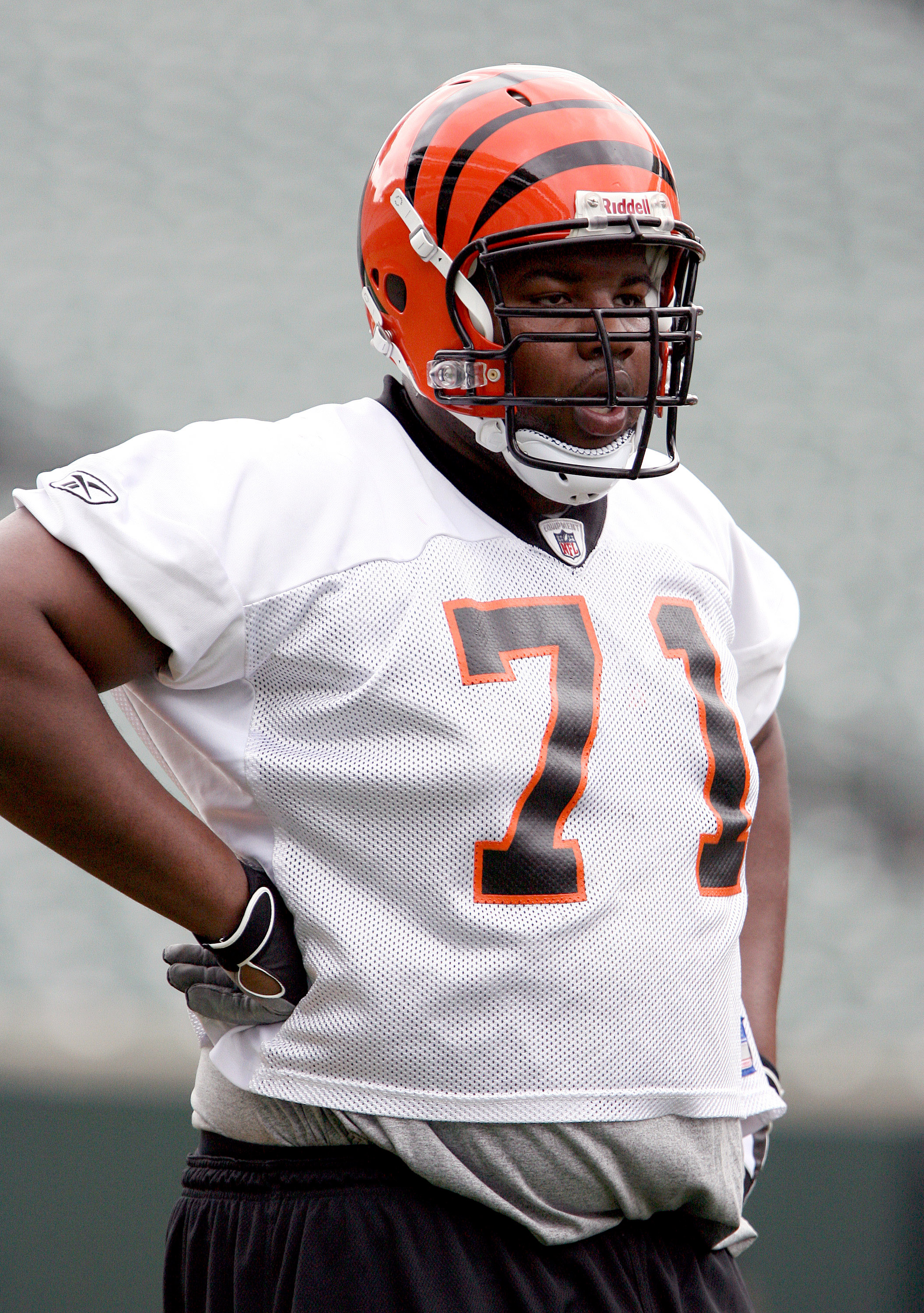 CINCINNATI, OH - MAY 1:  First round draft pick Andre Smith #71 of the Cincinnati Bengals waits his turn for a drill during rookie minicamp at Paul Brown Stadium on May 1, 2009 in Cincinnati, Ohio.  (Photo by Mark Lyons/Getty Images)