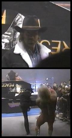Chuck Norris blocking the way to anyone attempting to interfere in the casket match held at Survivor Series 1994.