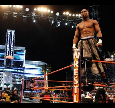 Floyd Mayweather celebrating after his victory over Big Show at Wrestlemania 24.