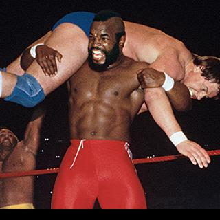 Mr. T battling at the first WrestleMania.