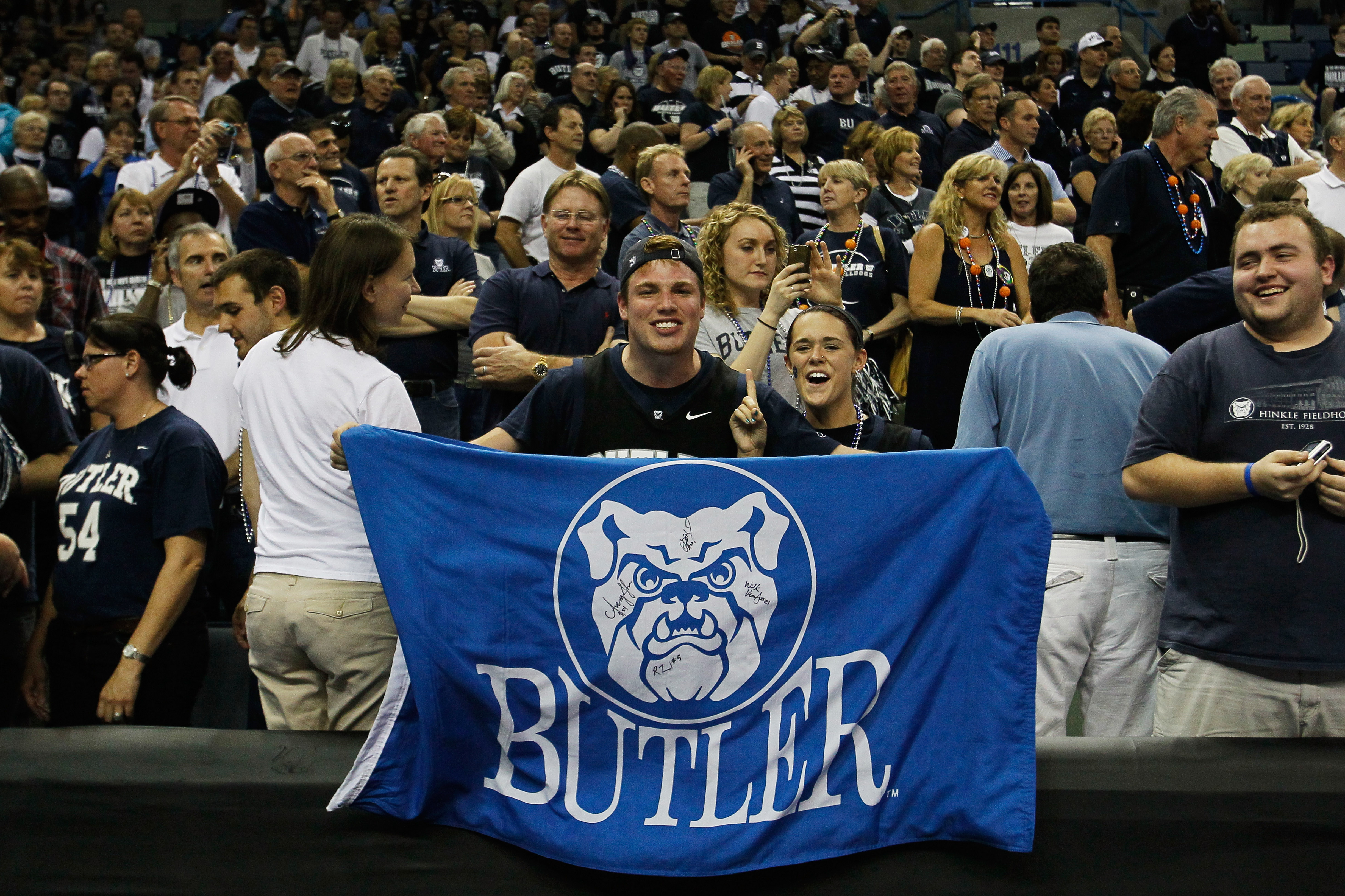 NEW ORLEANS, LA - MARCH 26:  Butler Bulldogs fans hold up a flag during their game against the Florida Gators in the Southeast regional final of the 2011 NCAA men's basketball tournament at New Orleans Arena on March 26, 2011 in New Orleans, Louisiana.  (