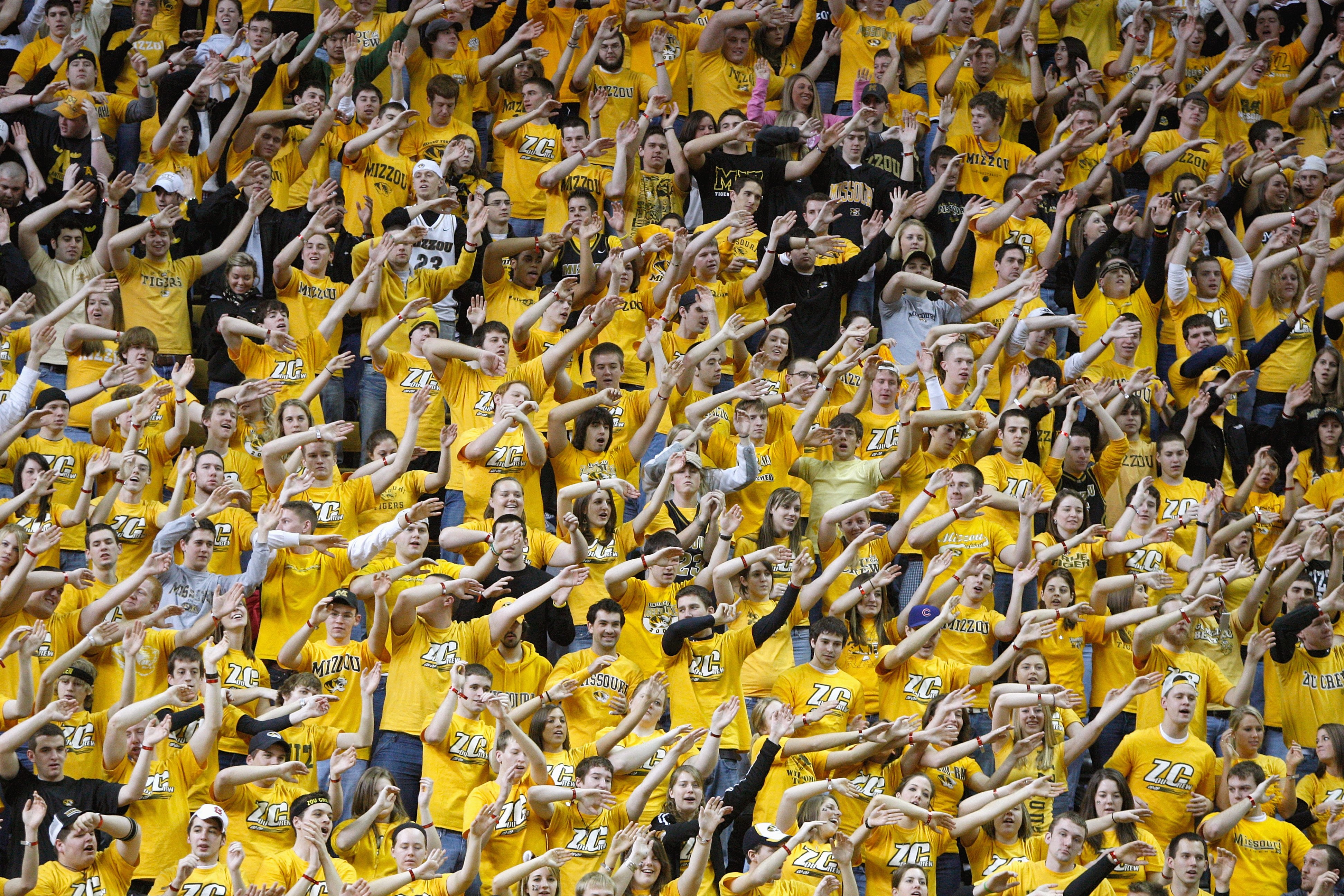 COLUMBIA, MISSOURI - FEBRUARY 14:  Fans of the Missouri Tigers cheer against the Nebraska Huskers during the game on February 14, 2009 at Mizzou Arena in Columbia, Missouri. (Photo by: Jamie Squire/Getty Images)