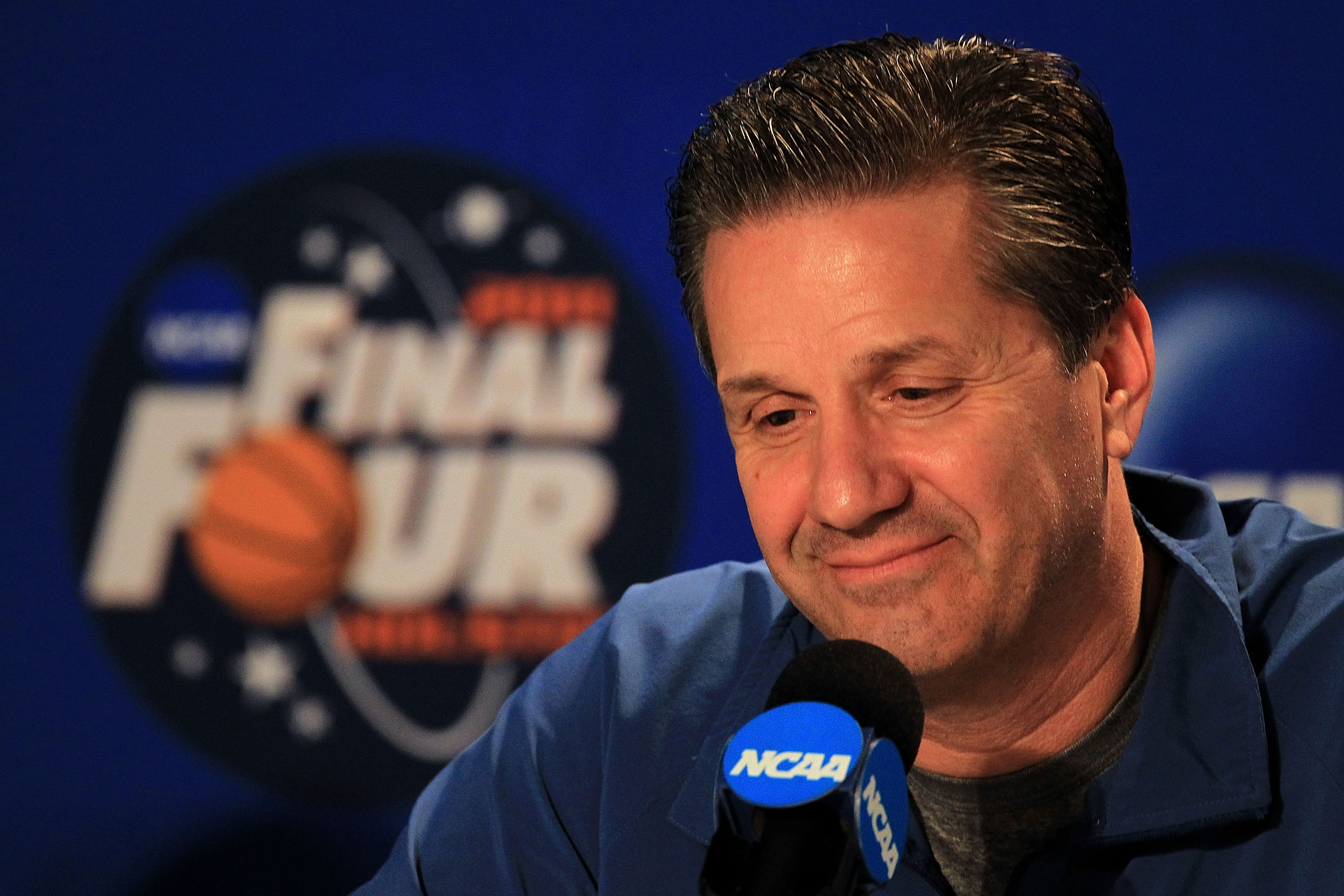 HOUSTON, TX - APRIL 01:  Head coach John Calipari of the Kentucky Wildcats addresses the media after practice prior to the 2011 Final Four of the NCAA Division I Men's Basketball Tournament at Reliant Stadium on April 1, 2011 in Houston, Texas.  (Photo by