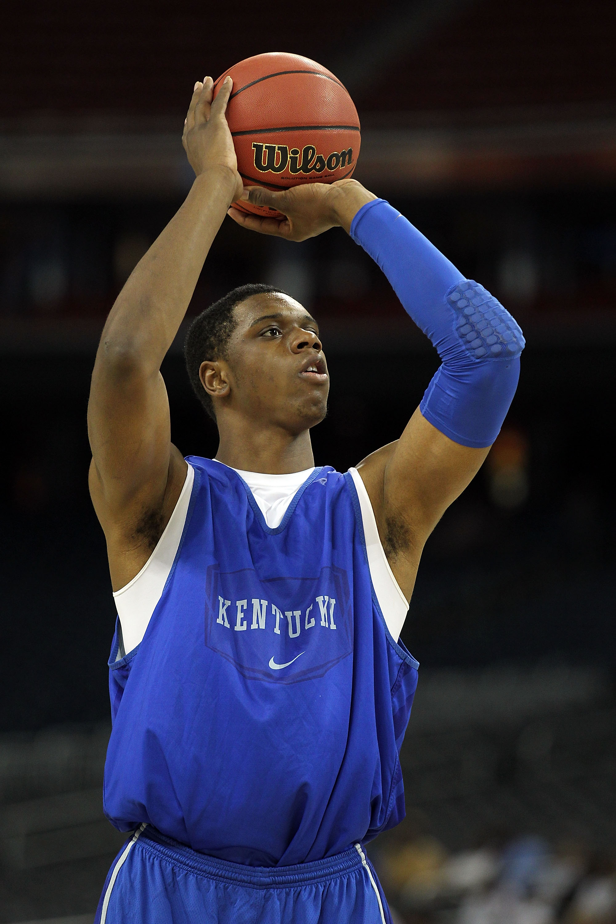 HOUSTON, TX - APRIL 01:  Terrence Jones #3 of the Kentucky Wildcats shoots the ball during practice prior to the 2011 Final Four of the NCAA Division I Men's Basketball Tournament at Reliant Stadium on April 1, 2011 in Houston, Texas.  (Photo by Andy Lyon