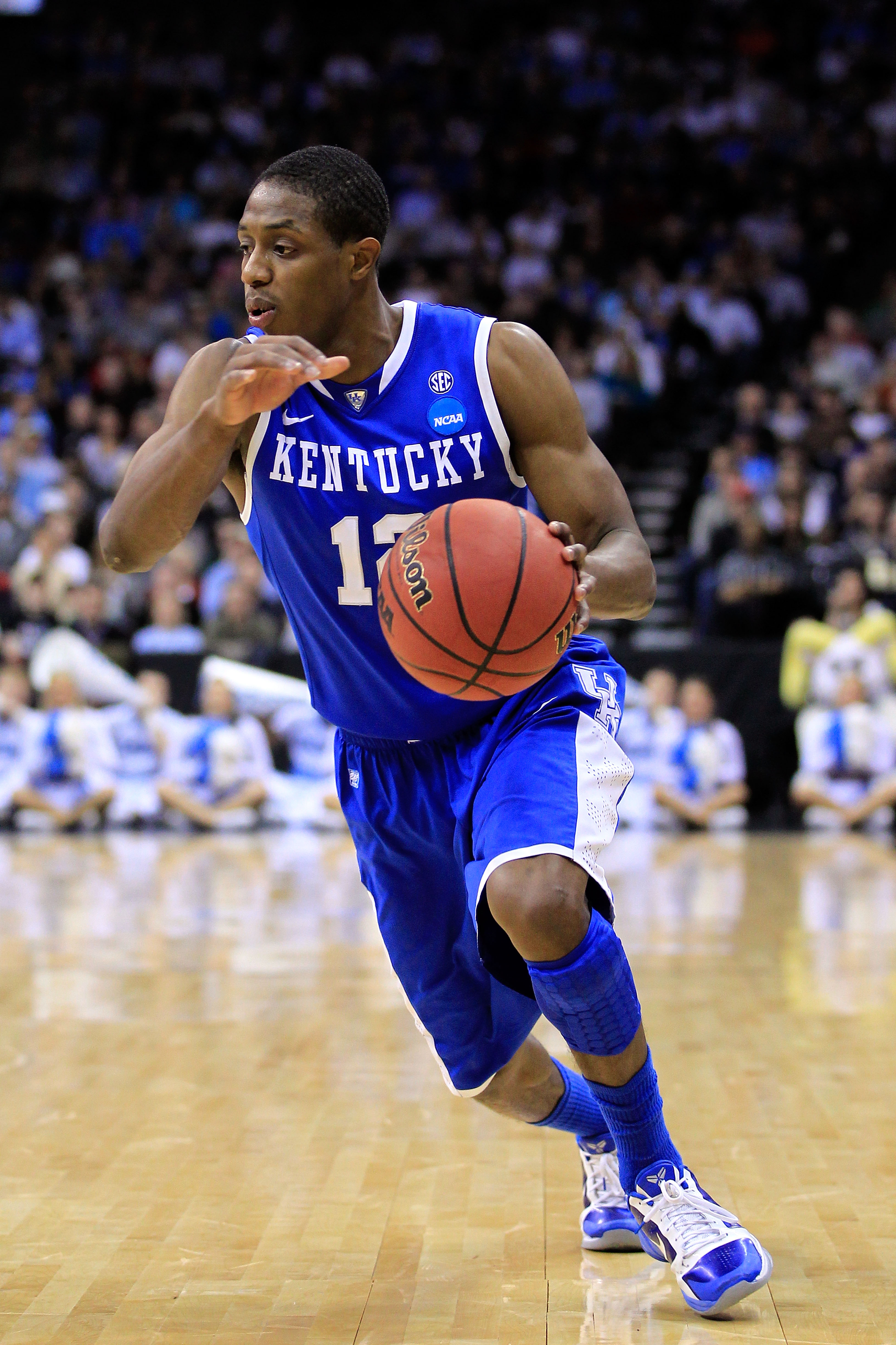NEWARK, NJ - MARCH 27:  Brandon Knight #12 of the Kentucky Wildcats dribbles the ball against the North Carolina Tar Heels during the east regional final of the 2011 NCAA men's basketball tournament at Prudential Center on March 27, 2011 in Newark, New Je