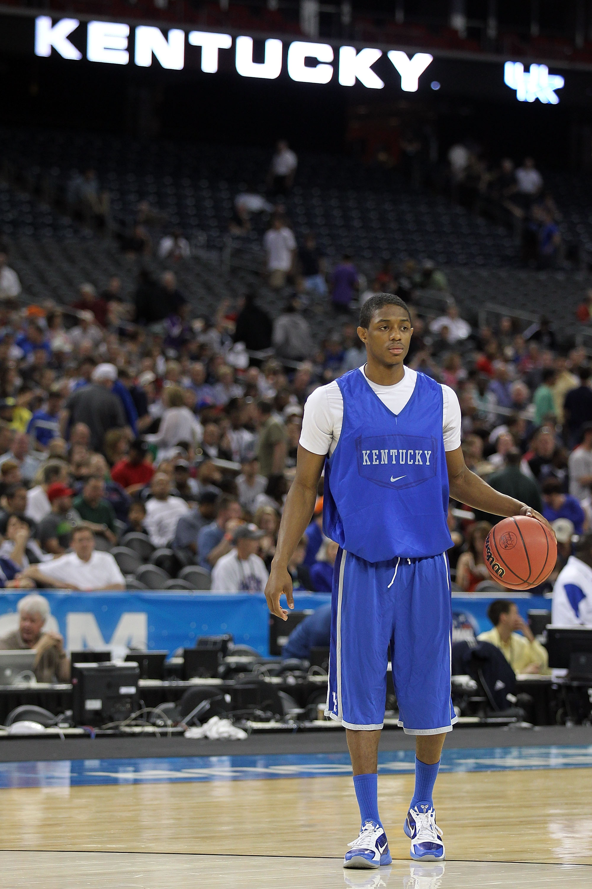 HOUSTON, TX - APRIL 01:  Brandon Knight #12 of the Kentucky Wildcats looks on during practice prior to the 2011 Final Four of the NCAA Division I Men's Basketball Tournament at Reliant Stadium on April 1, 2011 in Houston, Texas.  (Photo by Andy Lyons/Gett