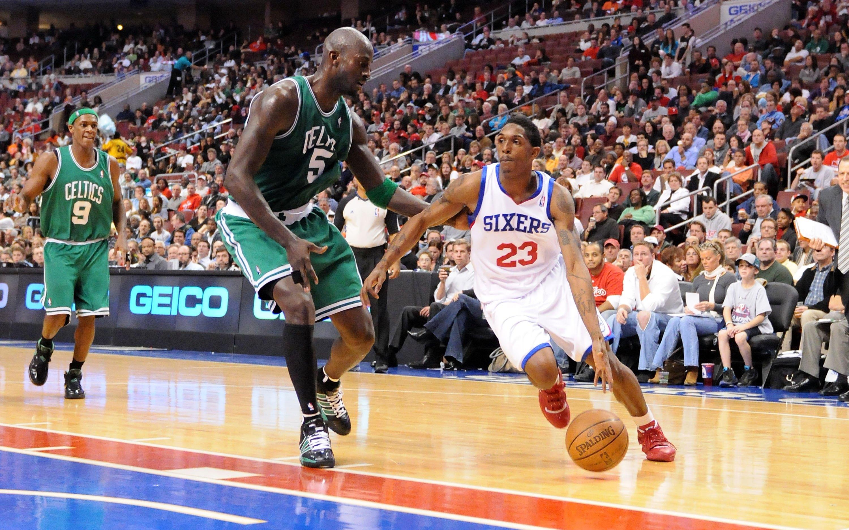PHILADELPHIA - NOVEMBER 03:  Lou Williams #23 of the Philadelphia 76ers drives against Kevin Garnett #5 of the Boston Celtics at the Wachovia Center on November 3, 2009 in Philadelphia, Pennsylvania.  NOTE TO USER: User expressly acknowledges and agrees t