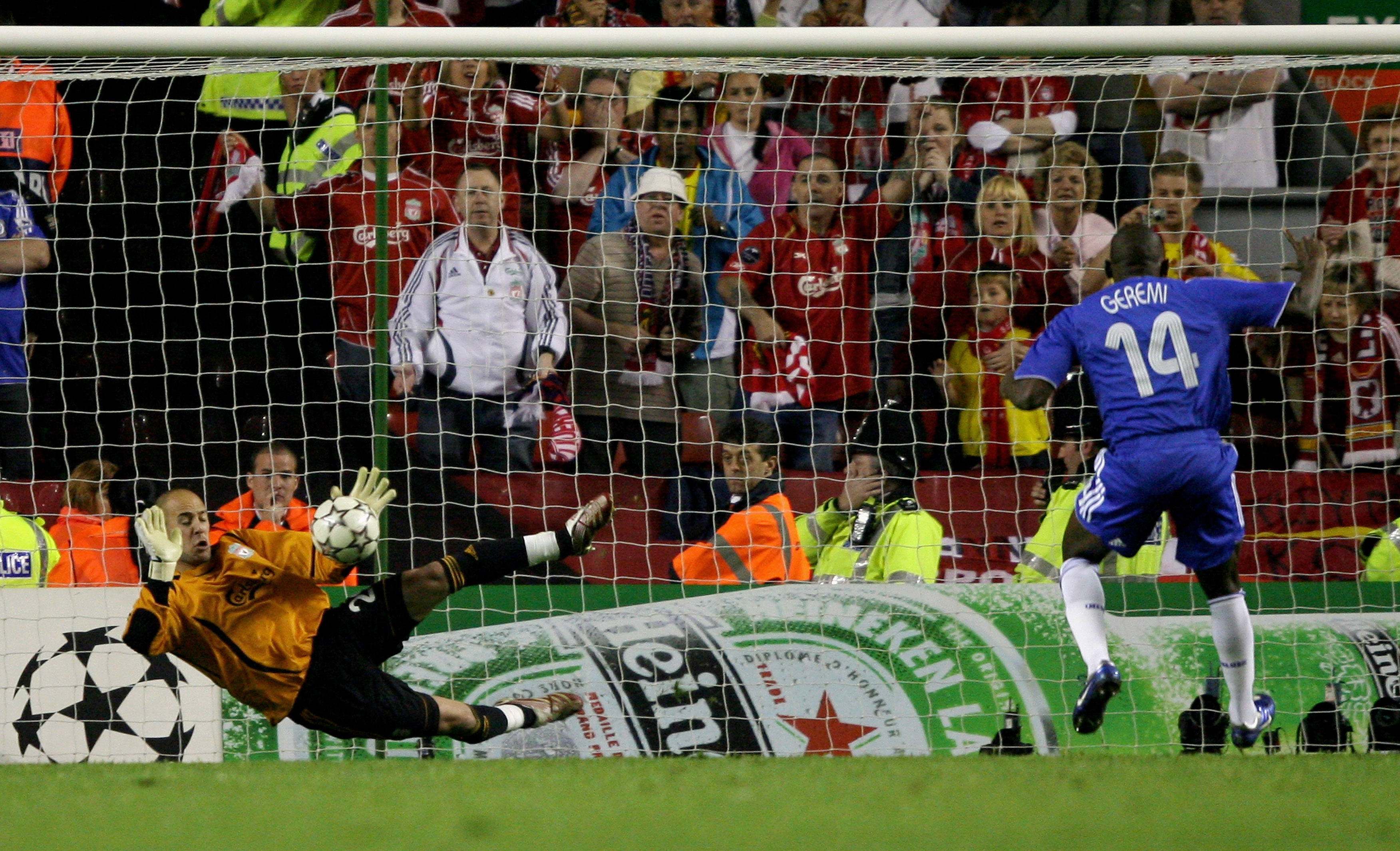LIVERPOOL, UNITED KINGDOM - MAY 01:  Pepe Reina of Liverpool saves the penalty from Geremi (#14) of Chelsea during the UEFA Champions League semi final second leg match between Liverpool and Chelsea at Anfield on May 1, 2007 in Liverpool, England.  (Photo