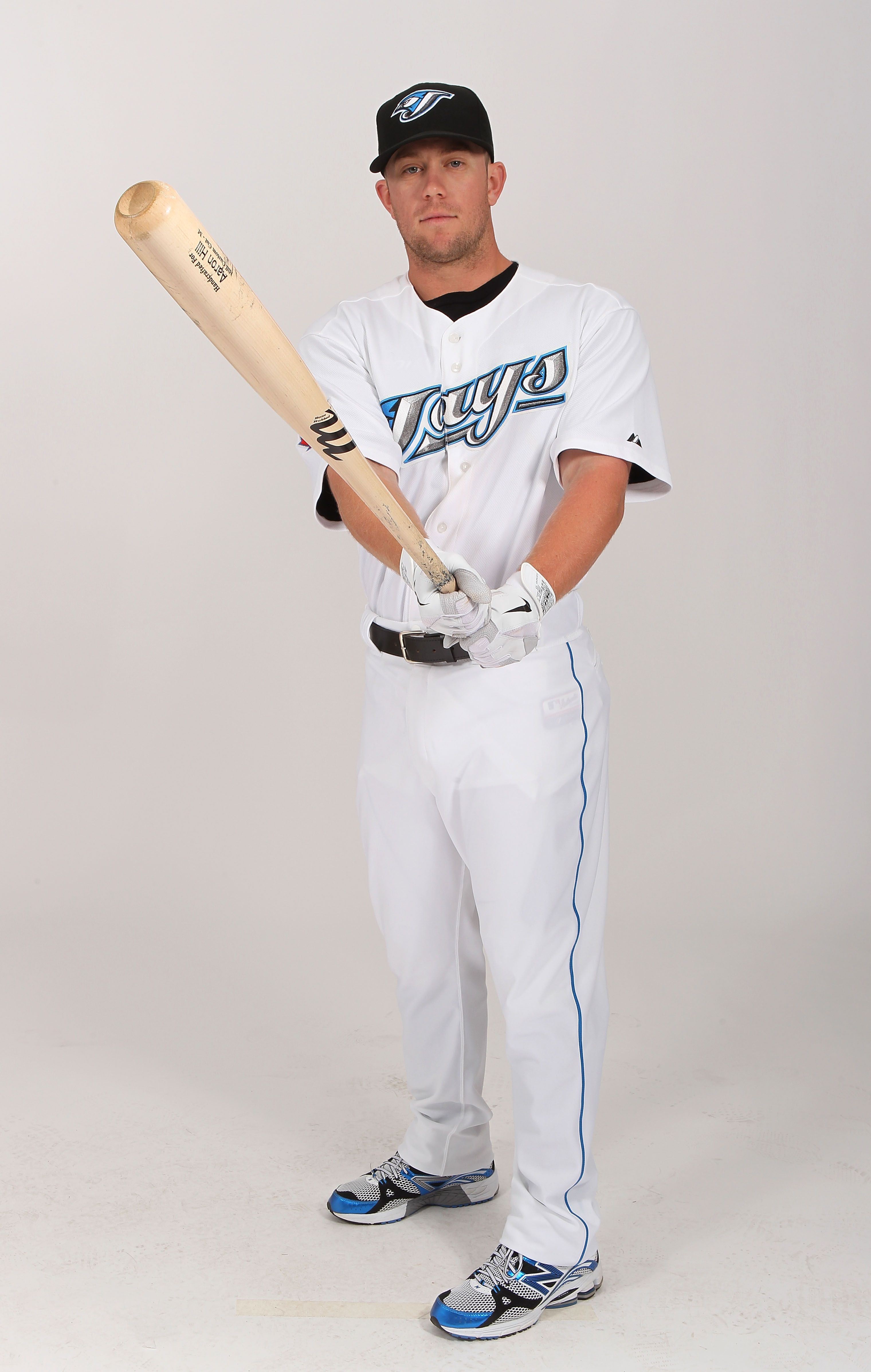 DUNEDIN, FL - FEBRUARY 20:  Aaron Hill #2  of the Toronto Blue Jays poses during photo day at Florida Auto Exchange Stadium on February 20, 2011 in Dunedin, Florida.  (Photo by Nick Laham/Getty Images)