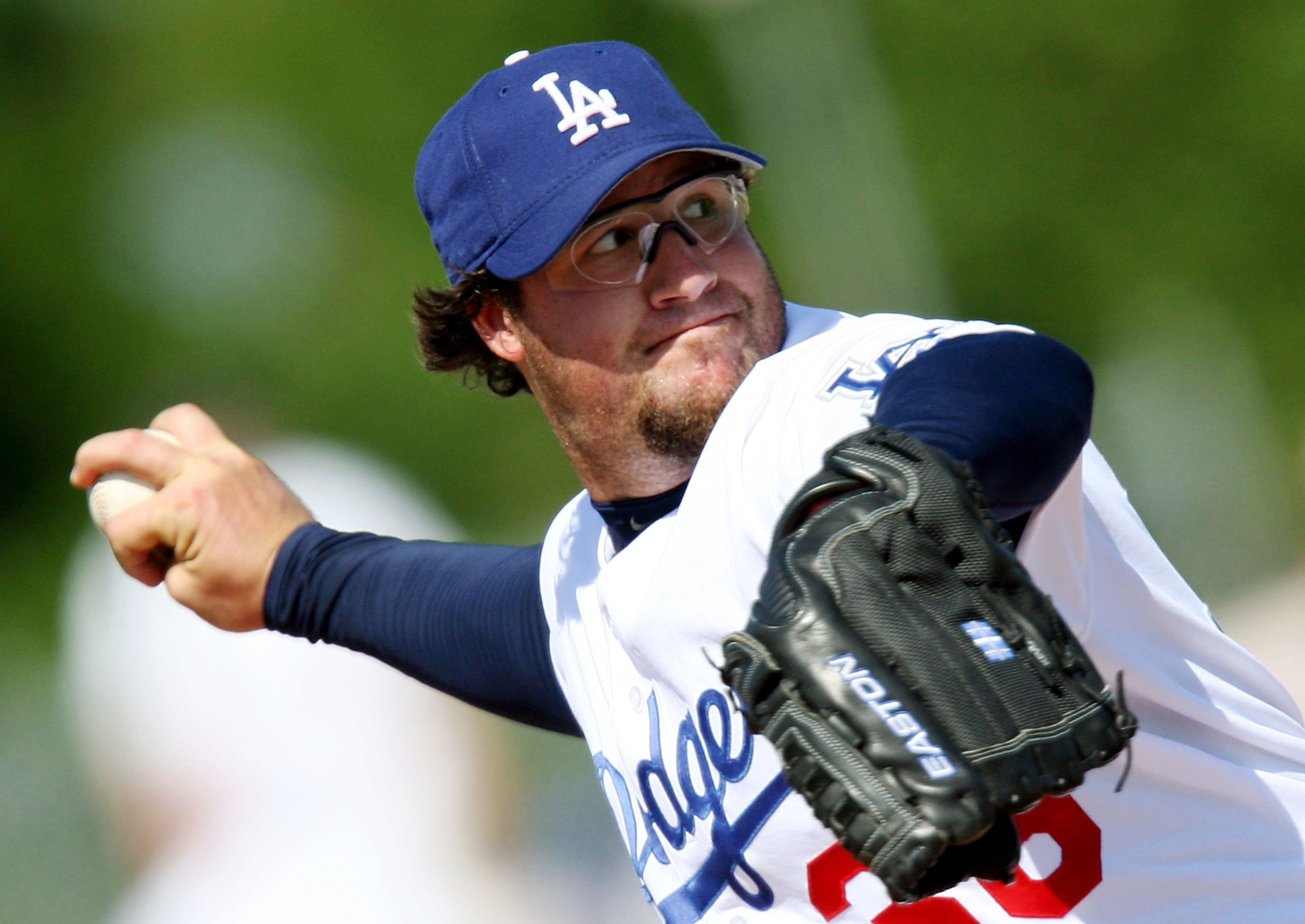 VERO BEACH, FL - MARCH 12:  Closer Eric Gagne #38 of the Los Angeles Dodgers pitches against the Houston Astros during a spring training game at Holman Stadium March 12, 2006 in Vero Beach, Florida. Gagne is coming back from an injury and pitched just one