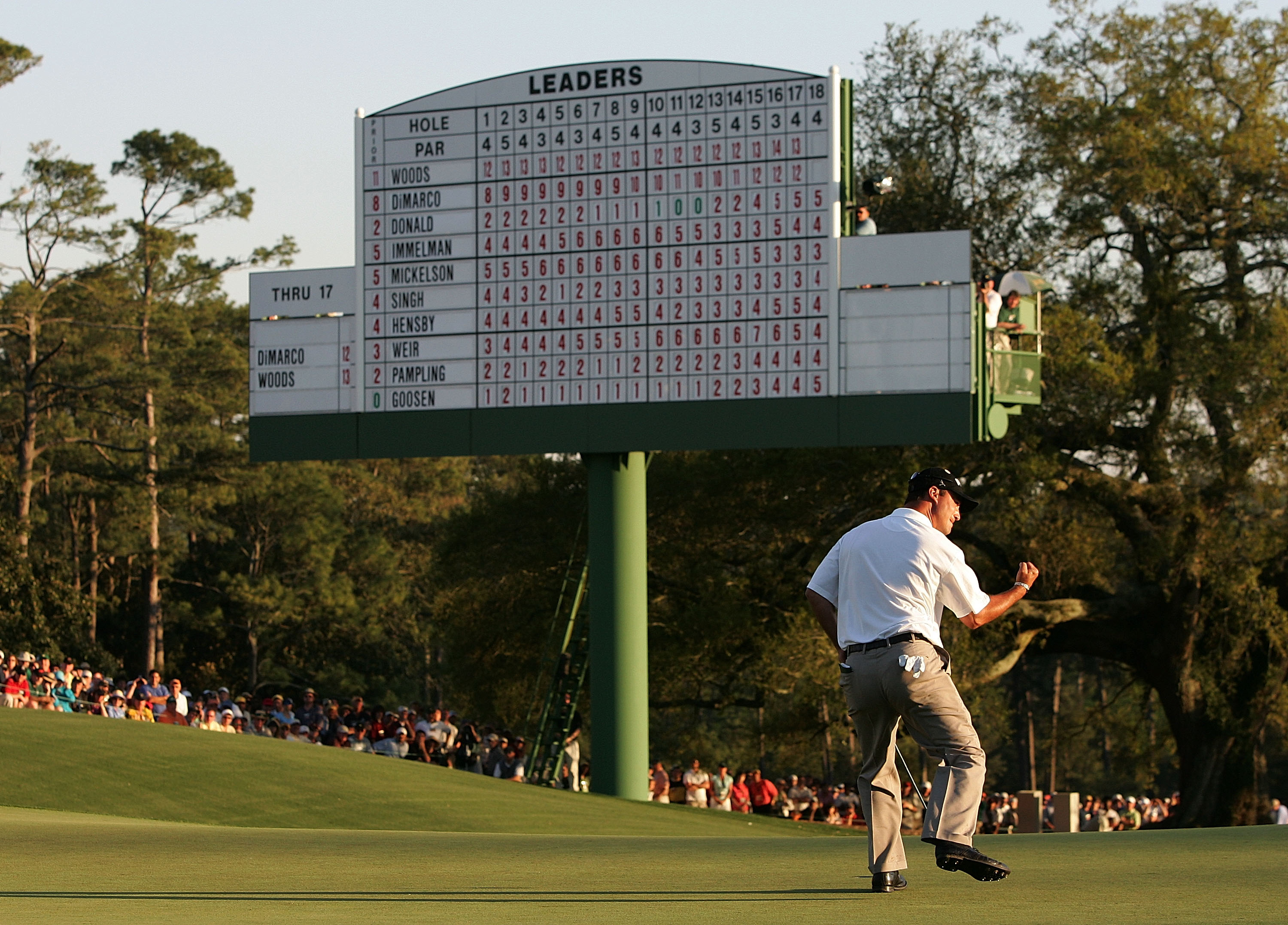 AUGUSTA, GA - APRIL 10:  Chris DiMarco celebrates his par-saving putt on the 18th green during the final round of The Masters at the Augusta National Golf Club on April 10, 2005 in Augusta, Georgia.  (Photo by Andrew Redington/Getty Images)