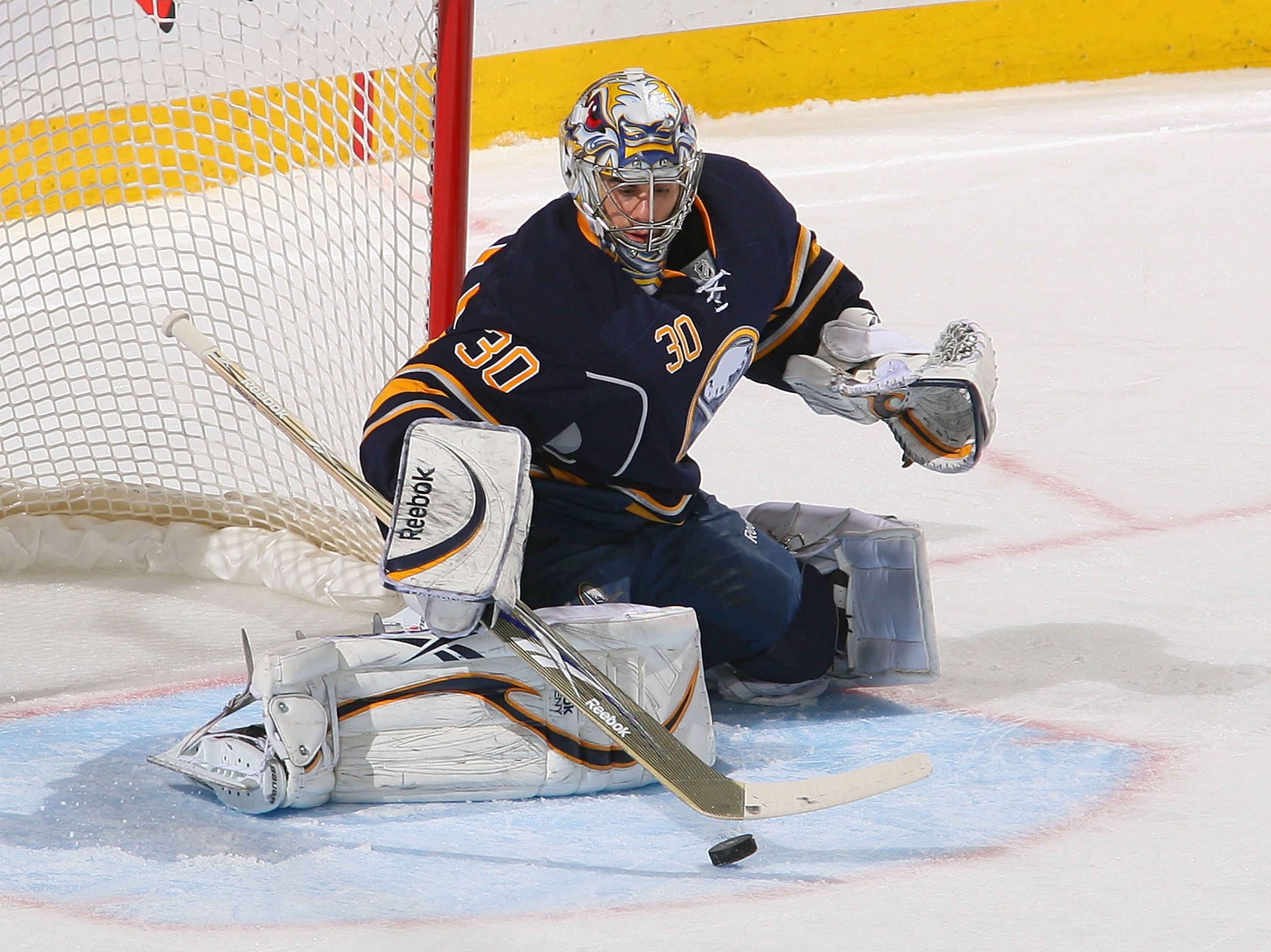 BUFFALO, NY - MARCH 20: Ryan Miller #30 of the Buffalo Sabres makes a save against the Nashville Predators at HSBC Arena on March 20, 2011 in Buffalo, New York.  (Photo by Rick Stewart/Getty Images)
