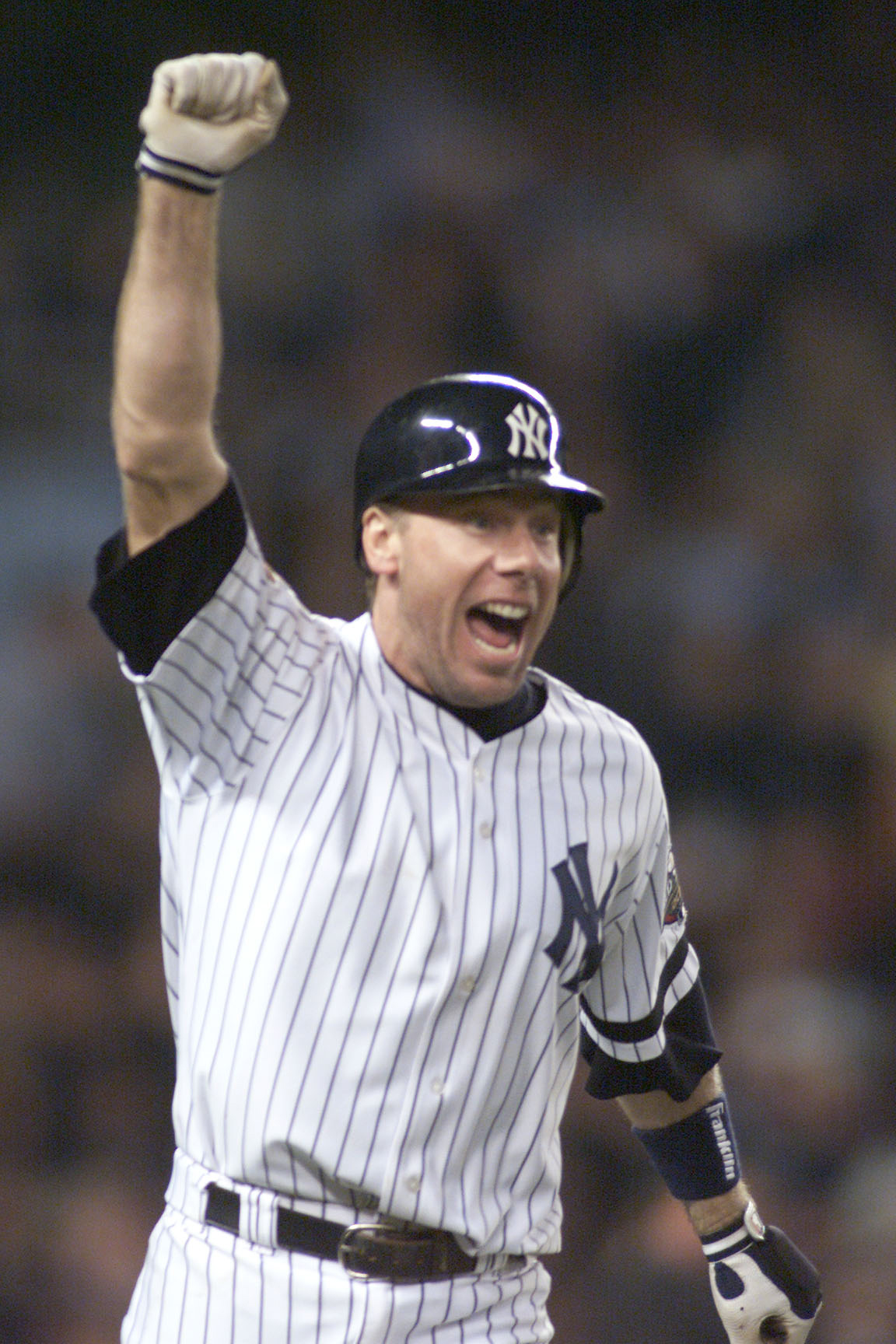 1 Nov 2001:  Scott Brosius #18 third baseman for the New York Yankees celebrates his game tying two run home run with two outs in the bottom of the ninth in game five of the 2001 World Series versus the Arizona Diamondbacks at Yankee Stadium in New York,