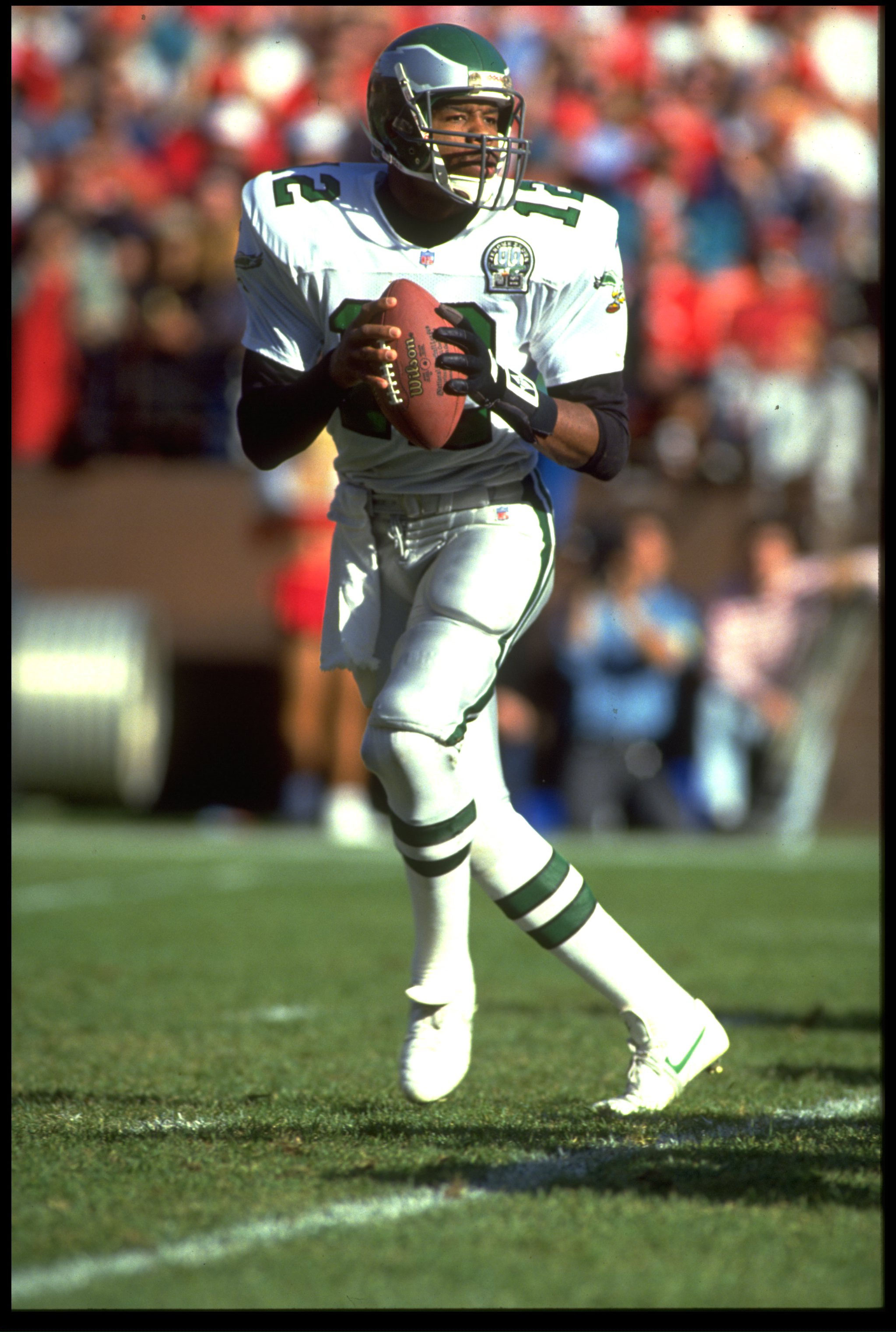 29 Nov 1992: PHILADELPHIA EAGLES QUARTERBACK RANDALL CUNNINGHAM DROPS BACK TO PASS DURING A 20-14 LOSS TO THE SAN FRANCISCO 49ERS AT CANDLESTICK PARK IN SAN FRANCISCO, CALIFORNIA