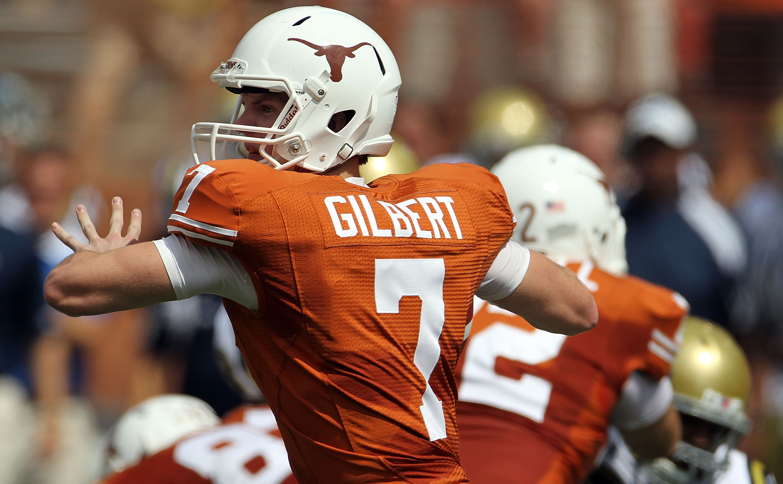 AUSTIN, TX - SEPTEMBER 25:  Quarterback Garrett Gilbert #7 of the Texas Longhorns at Darrell K Royal-Texas Memorial Stadium on September 25, 2010 in Austin, Texas.  (Photo by Ronald Martinez/Getty Images)