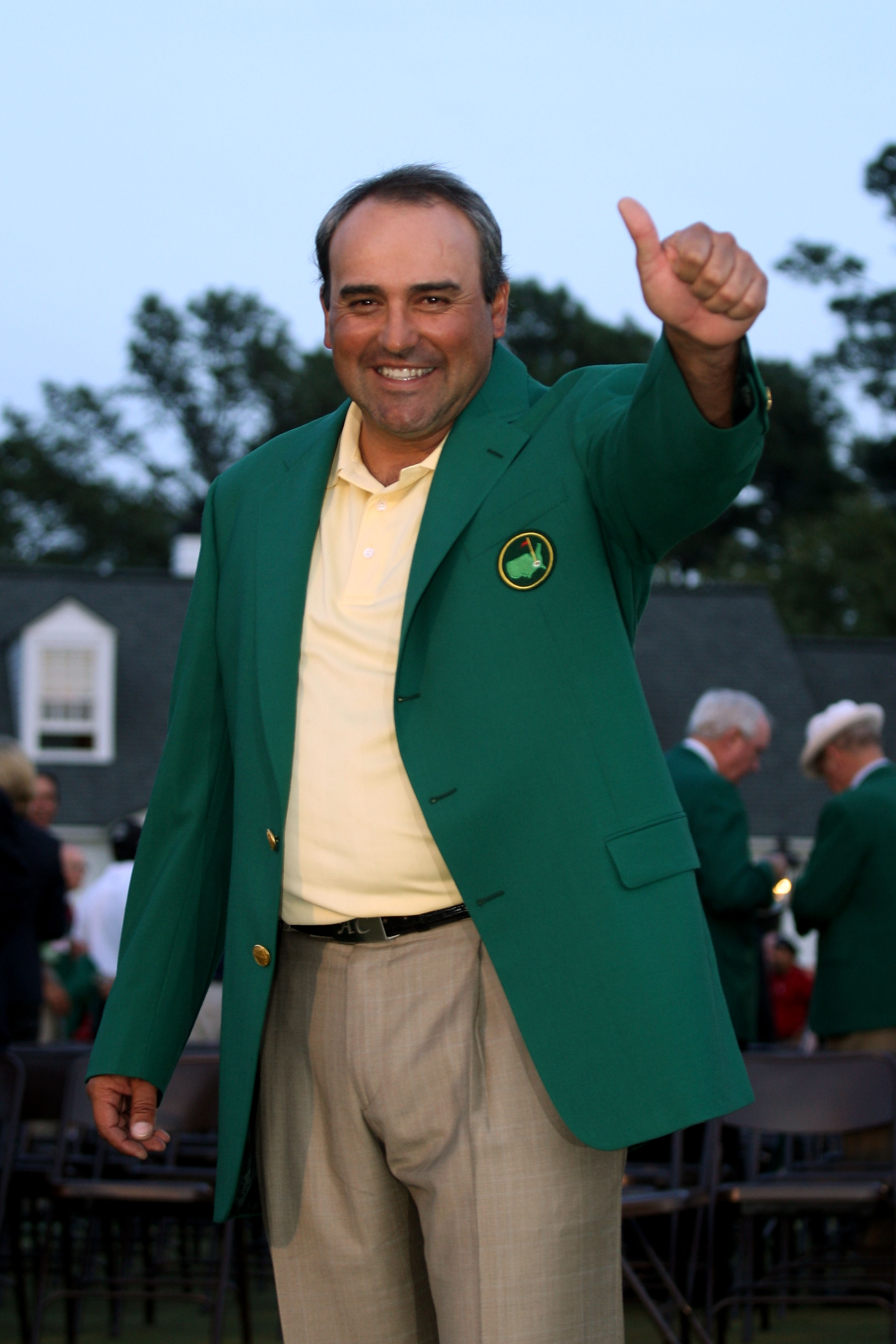 AUGUSTA, GA - APRIL 12:  Angel Cabrera of Argentina celebrates during the green jacket presentation after defeating Kenny Perry on the second sudden death playoff hole to win the 2009 Masters Tournament at Augusta National Golf Club on April 12, 2009 in A